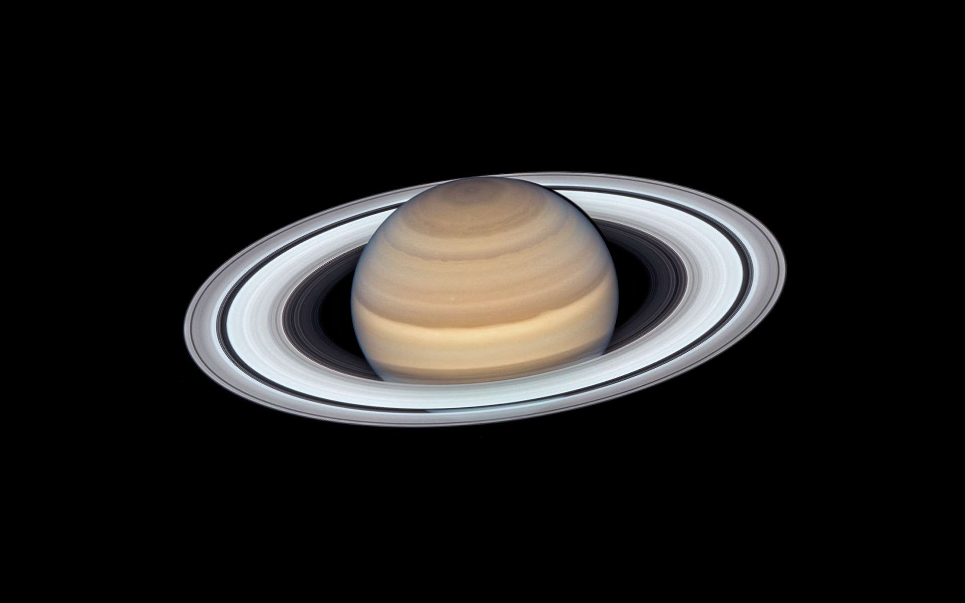 Saturne vue par le télescope spatial Hubble lorsqu'elle était au plus de la Terre le 20 juin 2019. © Nasa, ESA, A. Simon (Goddard Space Flight Center), et M.H. Wong (University of California, Berkeley)