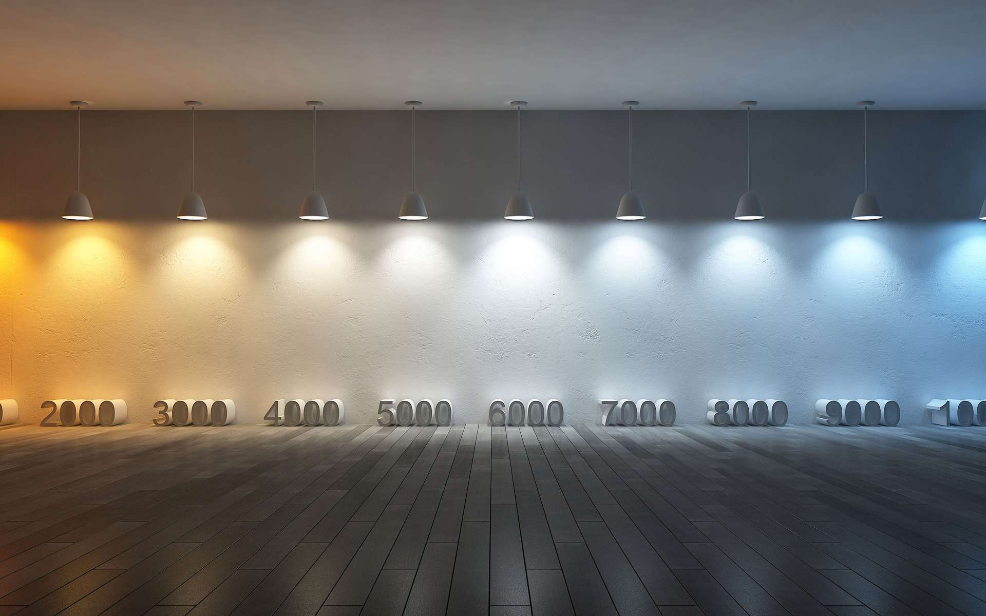 Plus le nombre de kelvins est élevé, plus la lumière tire vers le blanc froid. À l'inverse, plus il est bas, plus la lumière promet d'être chaleureuse. © Engie Electrabel