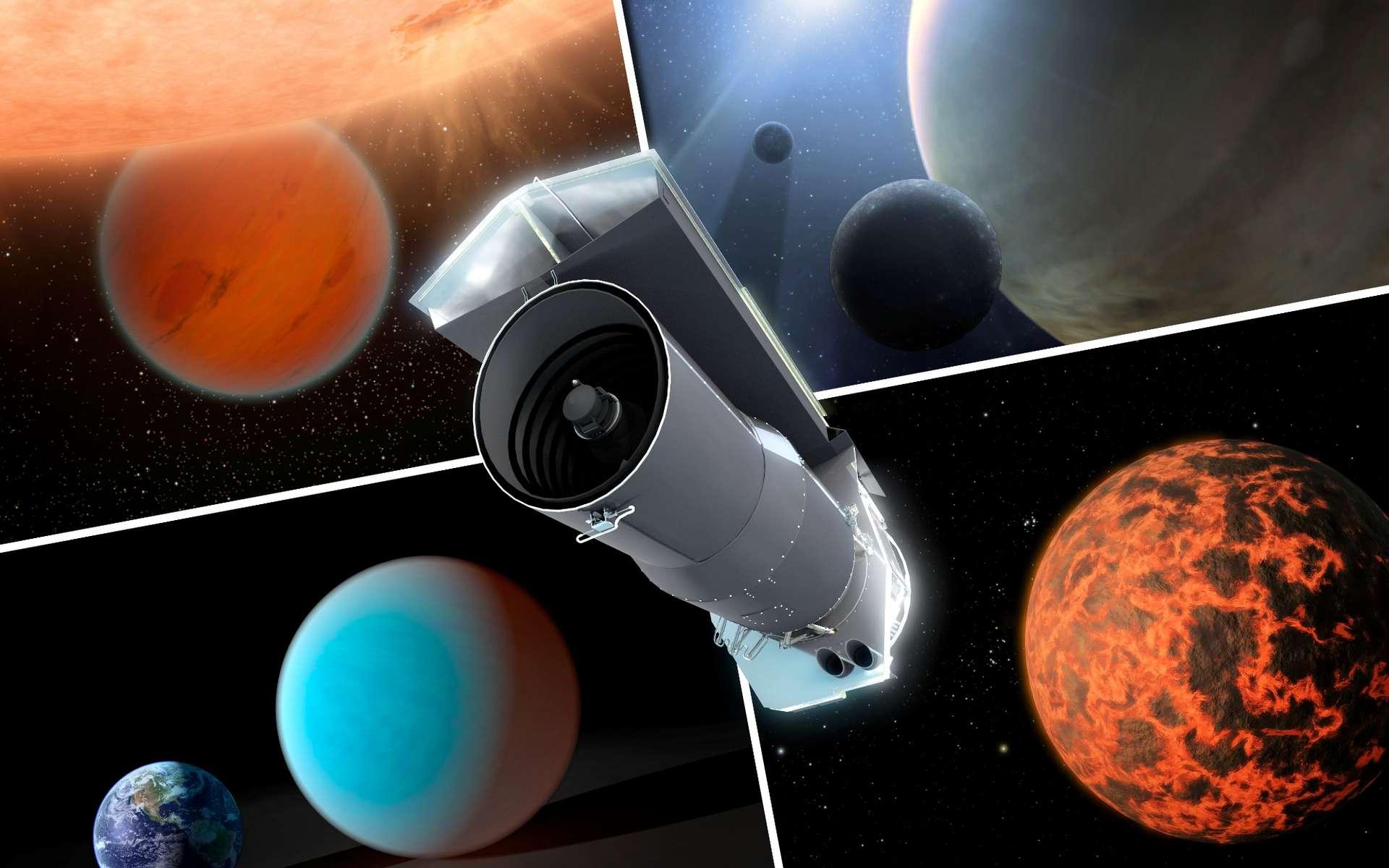 Au cours de dix années dans l'espace, le télescope spatial Spitzer de la Nasa est devenu un outil de premier ordre pour l'étude des exoplanètes. Les ingénieurs et scientifiques derrière Spitzer n'avaient pas cet objectif en tête lorsqu'ils ont conçu l'observatoire dans les années 1990. Mais grâce à sa stabilité extraordinaire et à une série de retouches techniques après le lancement, Spitzer disposait de pouvoirs d'observation bien au-delà de ses limites et attentes d'origine. Cette vue d'artiste montre Spitzer entouré d'exoplanètes que le télescope a examinées. © Nasa, JPL-Caltech