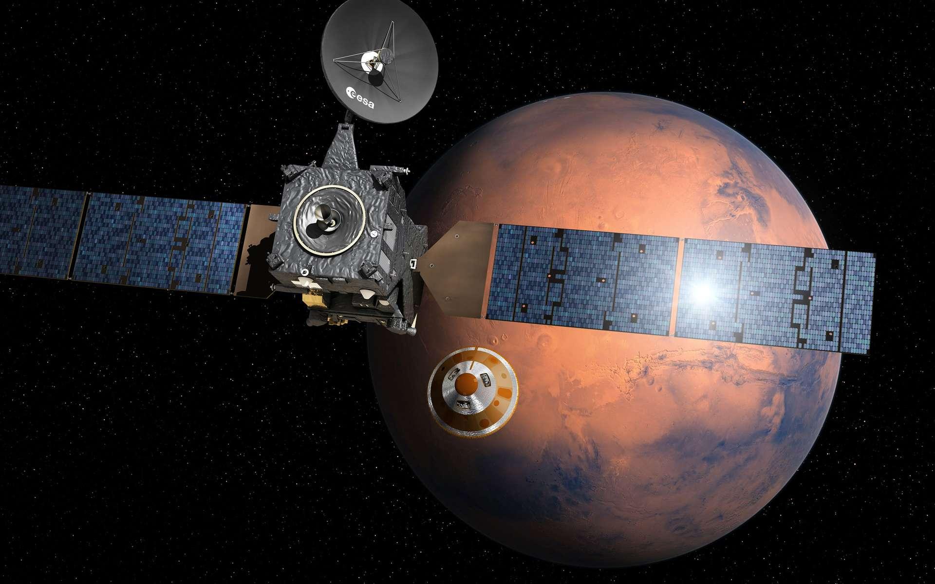 Mercredi 19 octobre, la mission ExoMars 2016, de l'Agence spatiale européenne, sera au plus proche de la Planète rouge : la capsule Schiaparelli atterrira à sa surface et le satellite TGO s'insérera dans l'orbite de Mars pour étudier son atmosphère. © ESA, D. Ducros