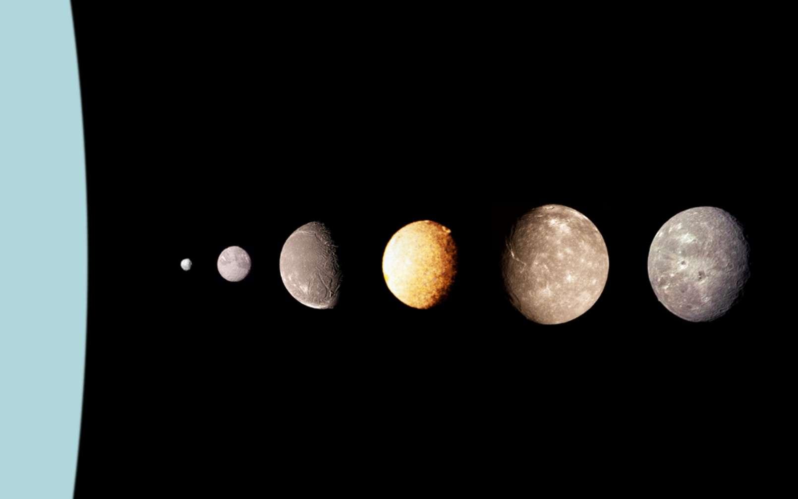 Puck, Miranda, Ariel, Umbriel, Titania, et Obéron : les principales lunes d'Uranus (cette dernière se trouve à l'échelle, à gauche), photographiées par Voyager 2. Il s'agit d'un montage. © Nasa
