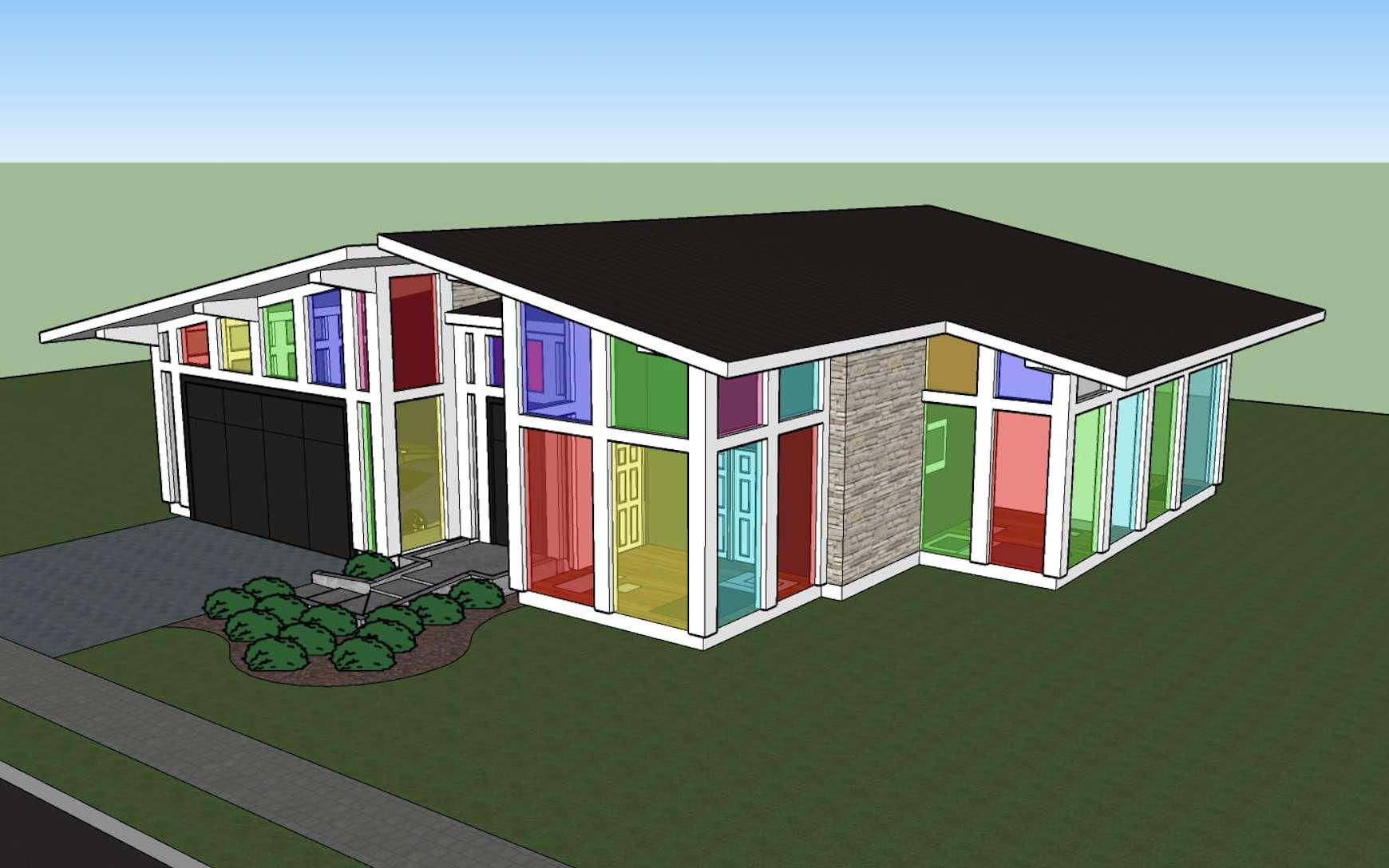 Des chercheurs ont conçu des fenêtres colorées avec des capacités photovoltaïques. © Rice University