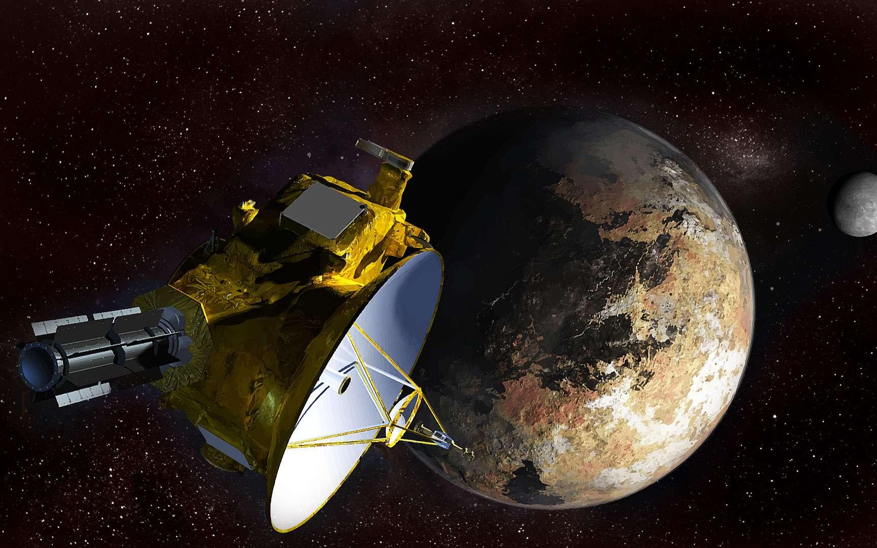 Les couleurs de Pluton. Pluton vue par la caméra MVIC (qui voit en bleu, en rouge et en infrarouge) le 14 juillet 2015. Cette image (composition de plusieurs clichés) a montré la complexité géologique de la surface de Pluton. Ici, un pixel représente 1,3 km. © Nasa/JHUAPL/SwRI