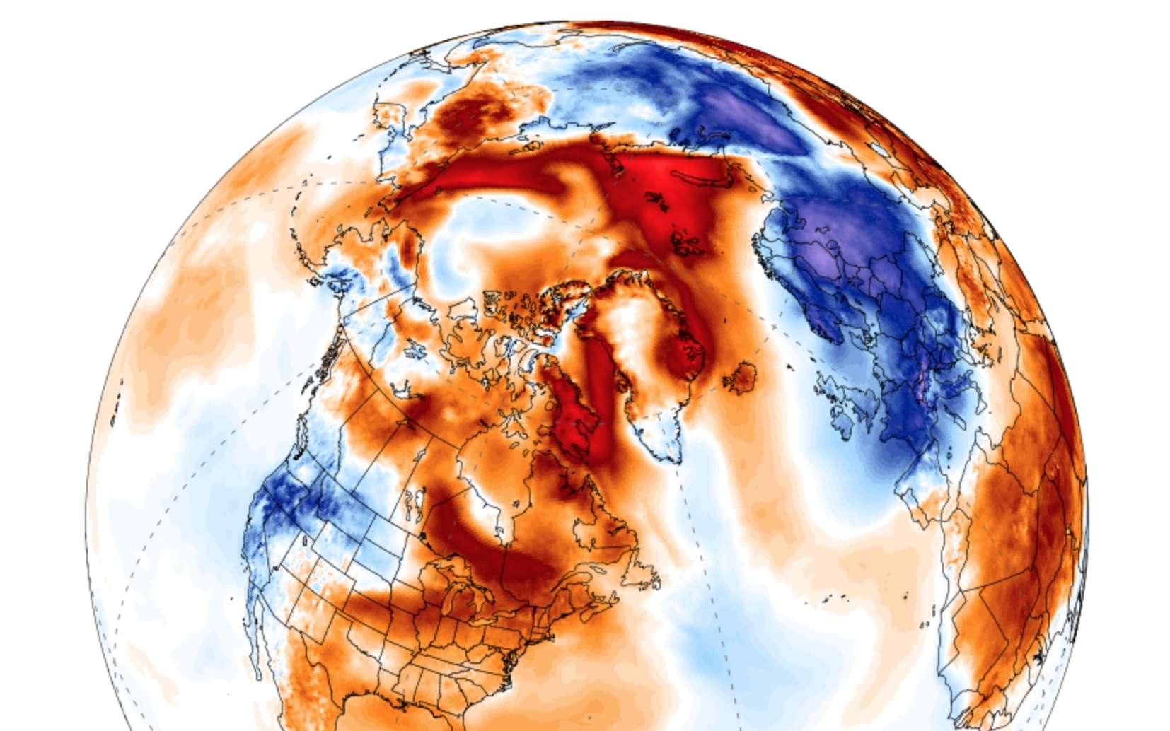 Carte des anomalies de température dans le monde le 27 février 2018. Les écarts de température avec les normales saisonnières atteignent +20 °C à certains endroits en Arctique ; +15 °C le 26 février à la station météo du cap Morris Jesup, au Groenland. À la même date, l'Europe de l'Ouest enregistrait des anomalies de température atteignant jusqu'à -10 °C. © ClimateReanalyser.org, université du Maine, Climate Change Institute