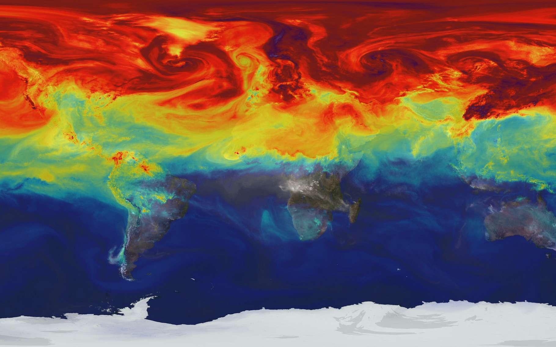 Un modèle établi par les chercheurs montre comment les gaz à effet de serre comme le dioxyde de carbone (CO2) fluctuent dans l'atmosphère terrestre tout au long de l'année. Ici, un pic dans l'hémisphère nord à la fin de l'hiver 2006. Les concentrations les plus élevées apparaissent en rouge. © Scientific Visualization Studio, Nasa