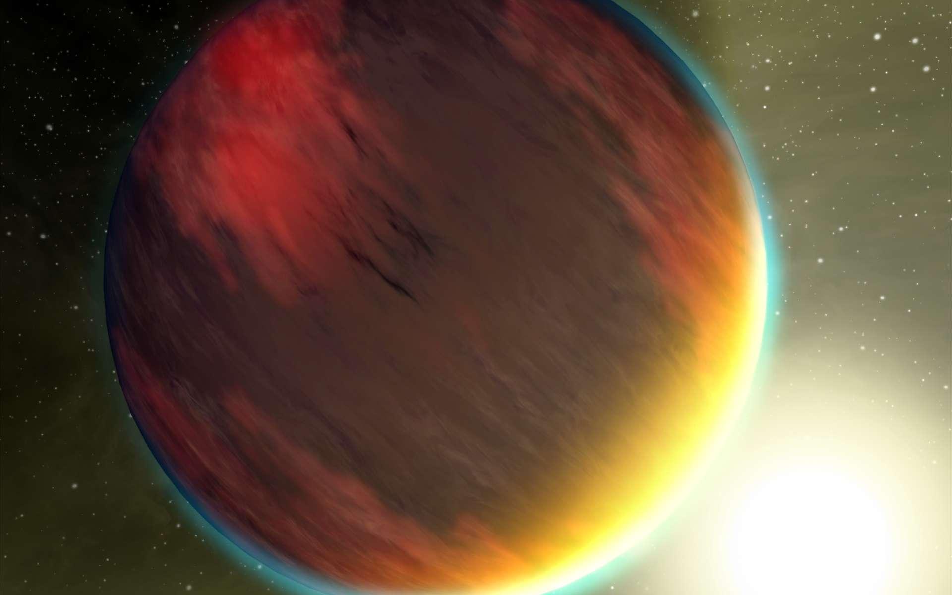 L'exoplanète HD 209458b, ou Osiris, dessinée par un artiste. Cette géante gazeuse est si proche de son étoile, dont elle fait le tour en trois jours et demi, que son atmosphère est aspirée. A l'intérieur figurent des molécules qui, sur Terre, font partie de la chimie du vivant et que les télescopes spatiaux avec des instruments sensibles à l'infrarouge peuvent détecter. © Nasa/JPL/Caltech