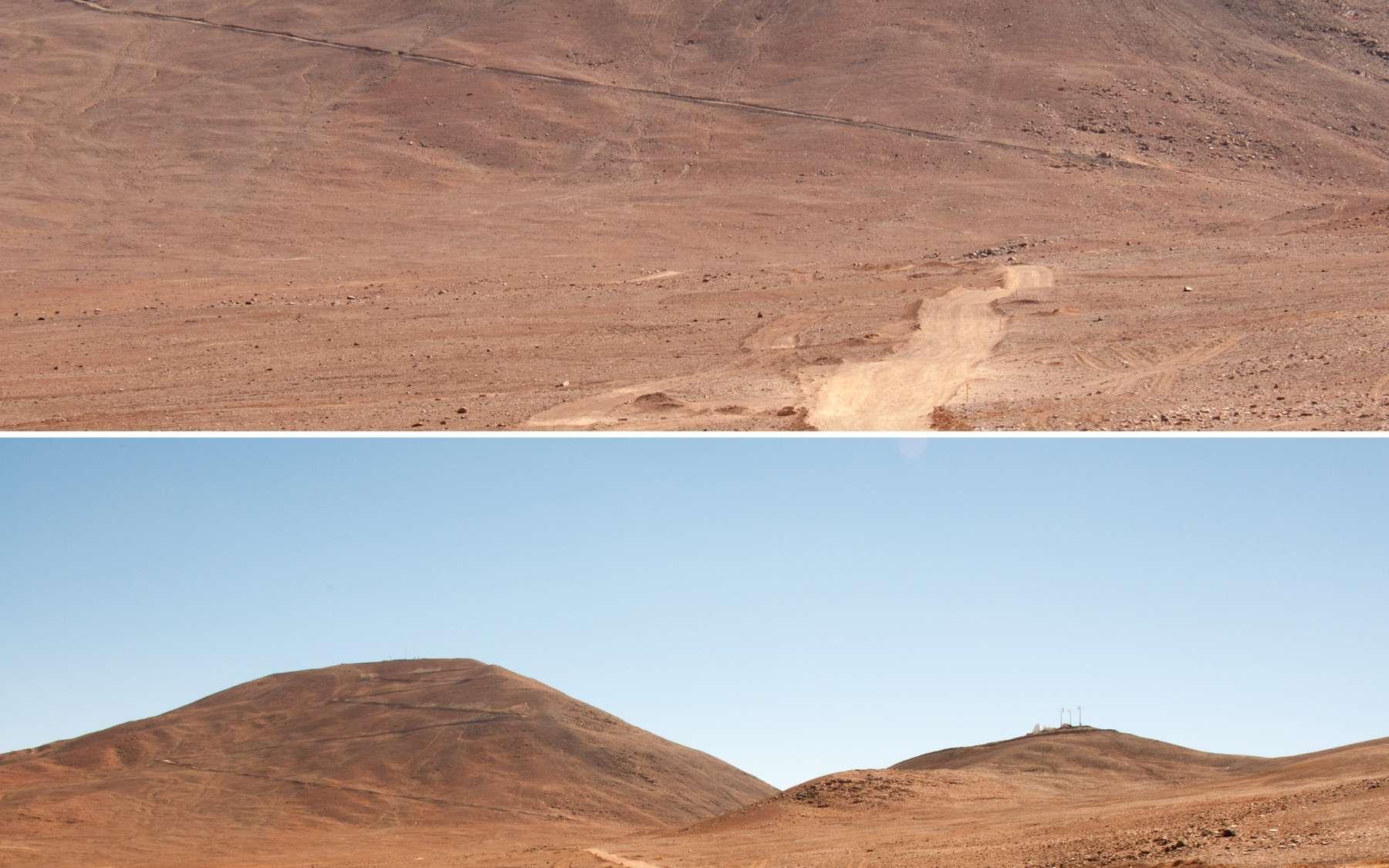 Au pied du Cerro Armazones, au somment duquel sera construit le futur télescope géant de 39 mètres de diamètre de l'Eso. Ce site, fermé au public, est accessible seulement en 4x4 par une route difficile sur un terrain accidenté. © Rémy Decourt