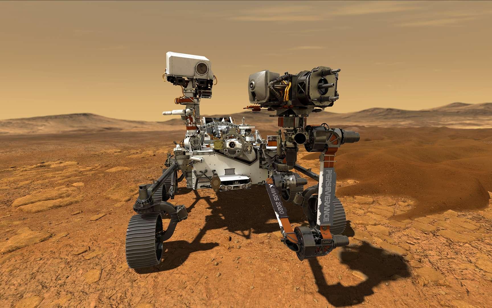 Illustration de Perseverance en action sur Mars. © Nasa, JPL-Caltech