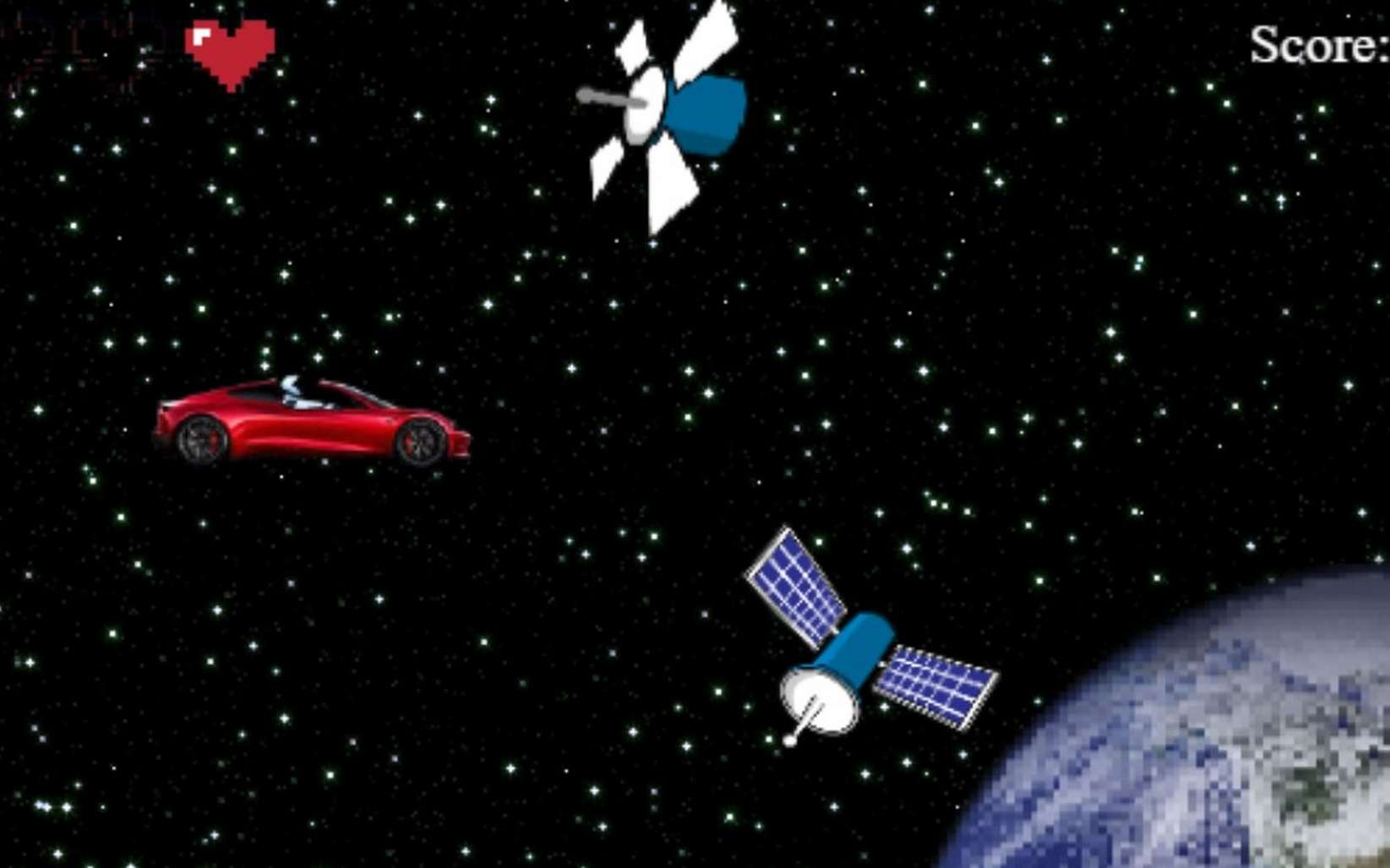 Extrait du jeu vidéo Starman Tesla Game. © AutoWise