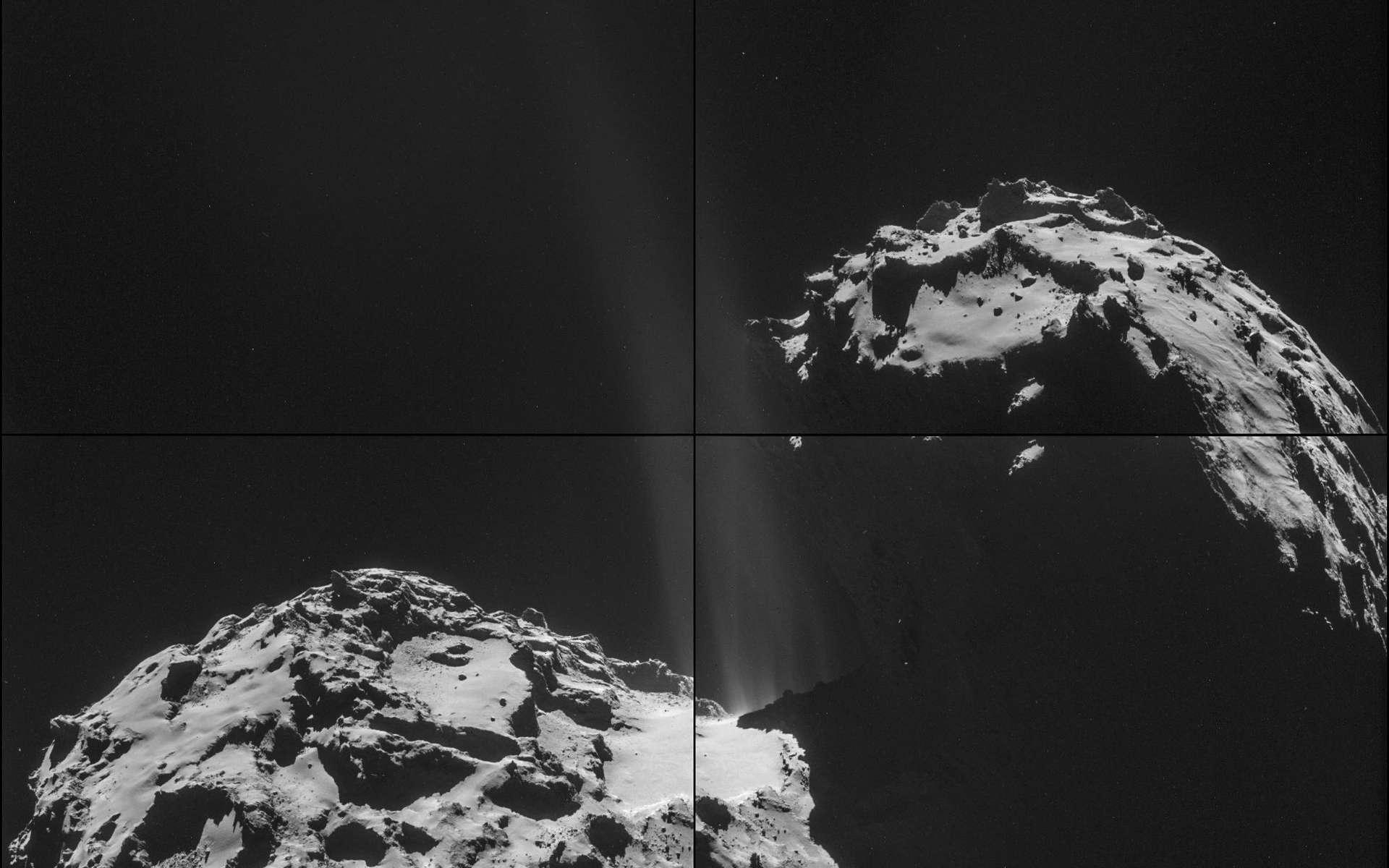 Mosaïque de 4 images de la comète 67P/Churyumov-Gerasimenko prises en l'espace de 20 mn, le 26 septembre à 26,3 km seulement du noyau. On peut observer que le dégazage le plus important provient de la région dite du cou lequel soude les deux lobes caractéristiques de cet astre d'environ 4 km de longueur. © Esa, Rosetta, NavCam