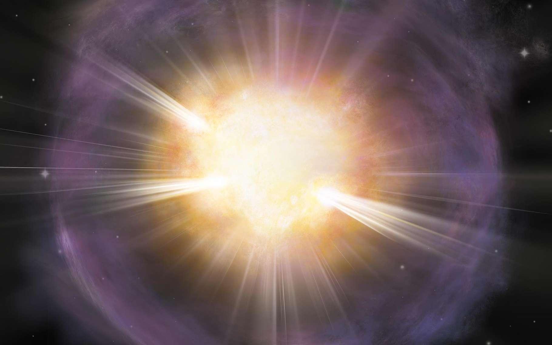 Des chercheurs expliquent comment l'explosion d'une étoile en supernova peut produire le calcium essentiel à nos os. Sur cette vue d'artiste, la supernova SN 2019ehk. Le matériau riche en calcium apparaît en orange. En violet, une couche de gaz rejetée par l'étoile juste avant son explosion. © Aaron M. Geller, Université Northwestern