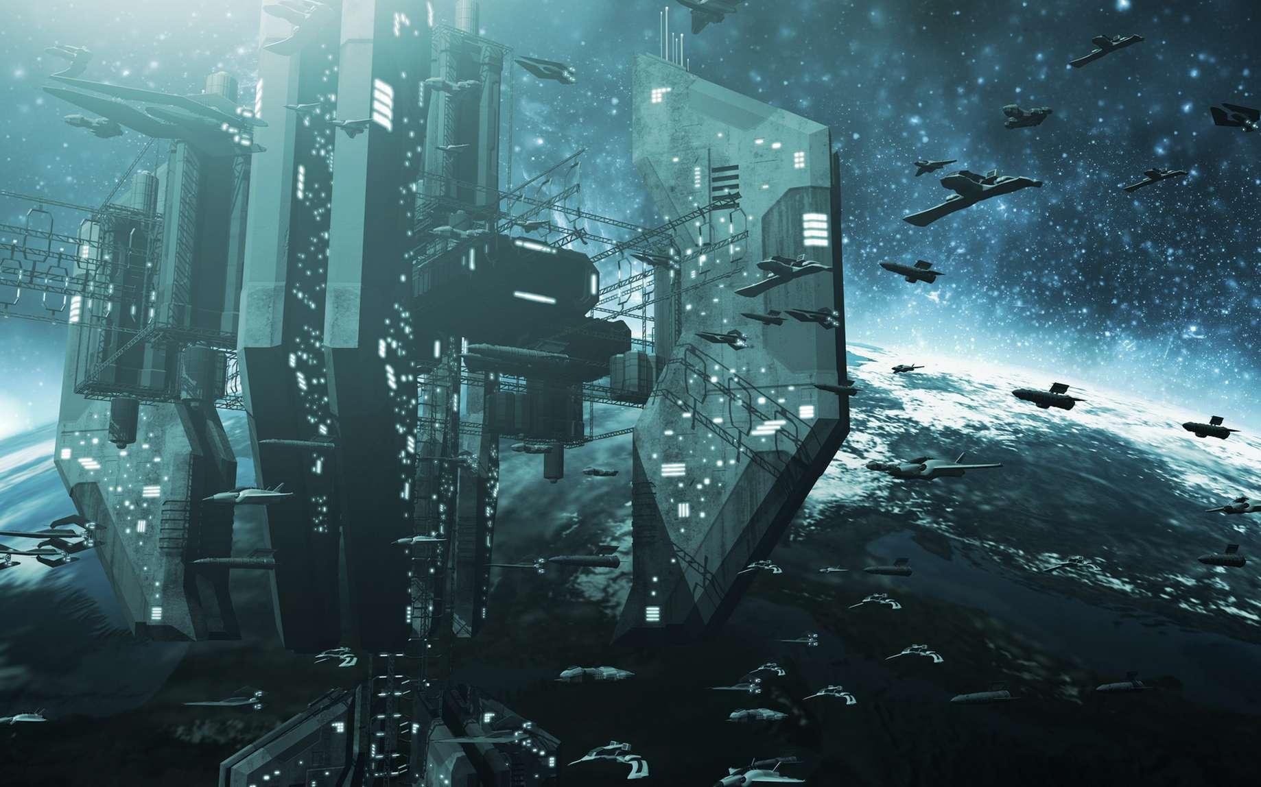 En orbite autour d'Hypérion, les forces de l'Hégémonie affrontent l'armée Extro. © fredmantel, Fotolia