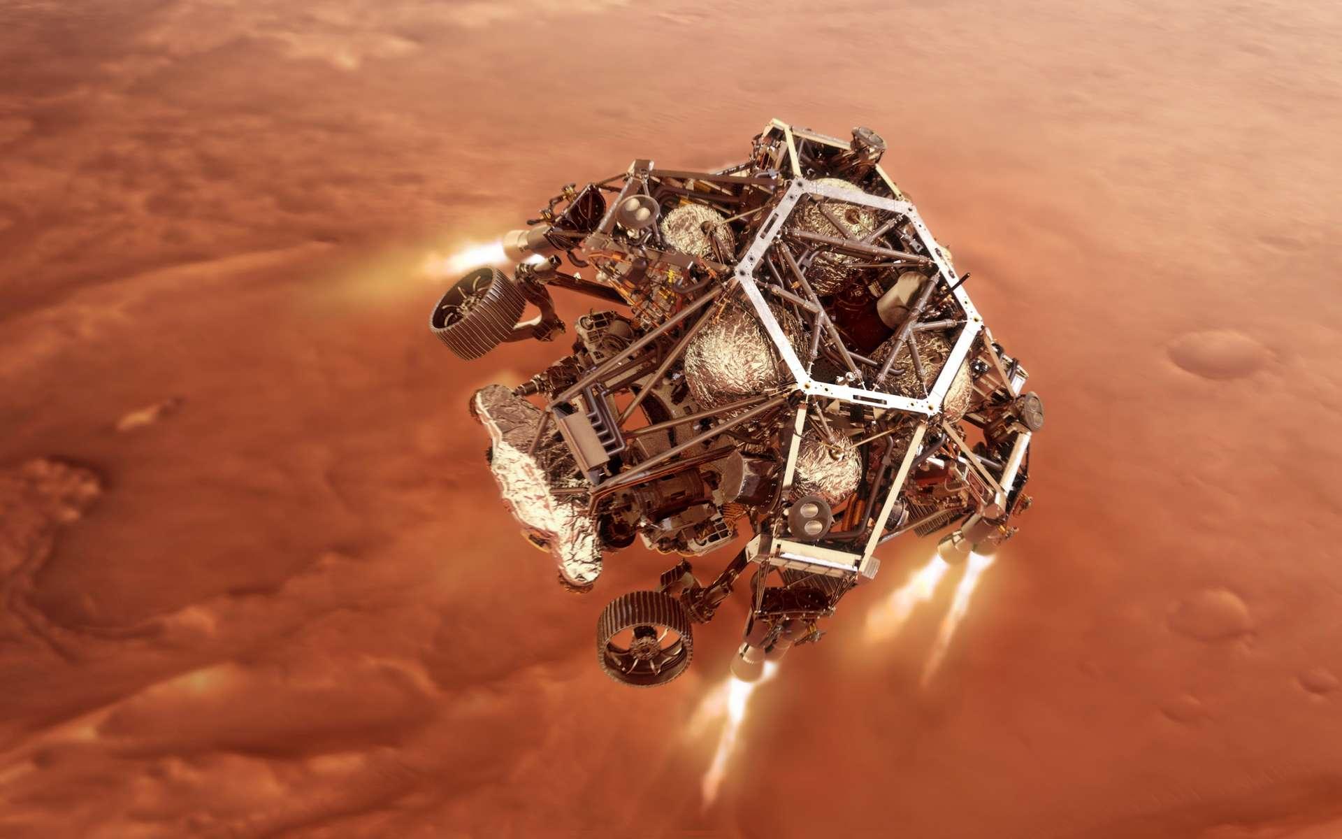 Dans les griffes du SkyCrane, Perseverance est transporté jusqu'à son site d'atterrissage. © Nasa, JPL-Caltech