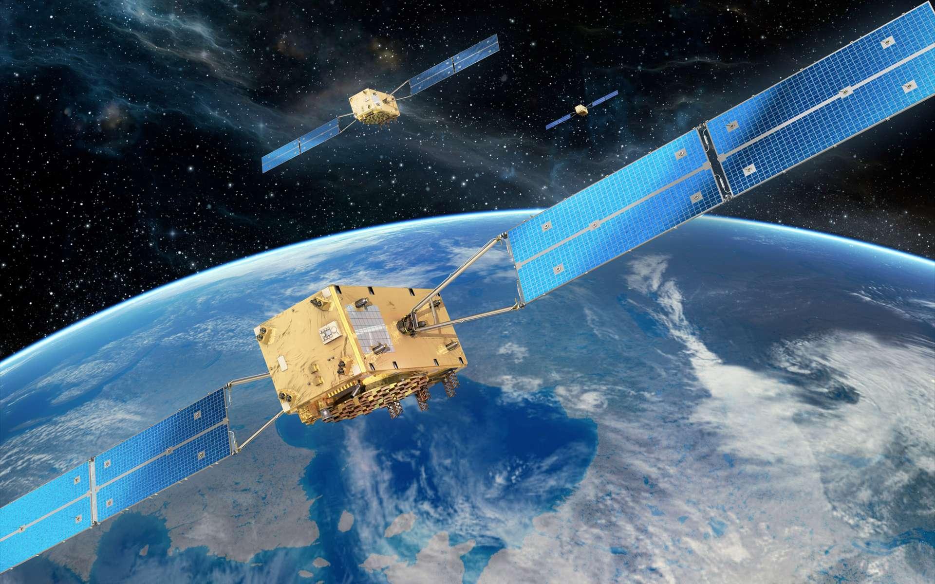 Lorsqu'elle sera pleinement opérationnelle, la constellation Galileo comptera 30 satellites positionnés à 23.222 kilomètres d'altitude. © OHB