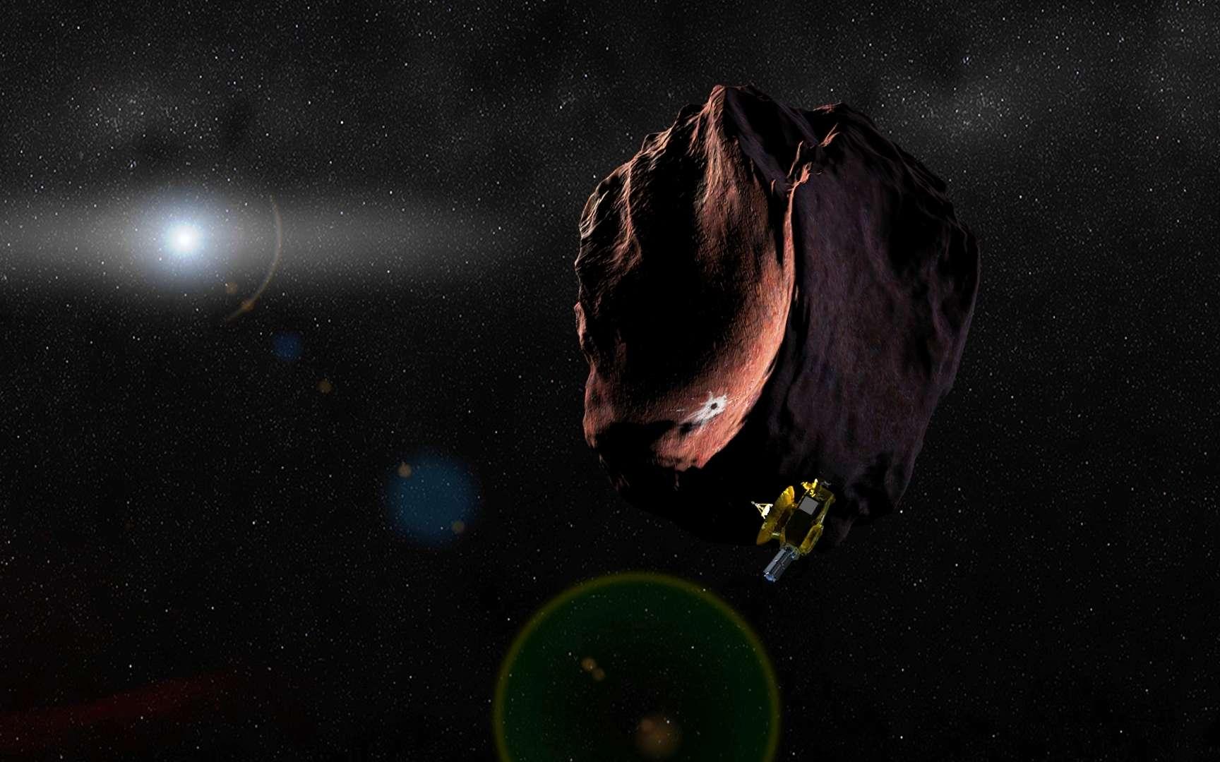 Une vision d'artiste de la sonde New Horizons visitant (peut-être en 2019 ?), un objet de la ceinture de Kuiper d'environ 50 kilomètres de diamètre. © JHUAPL, SwRI