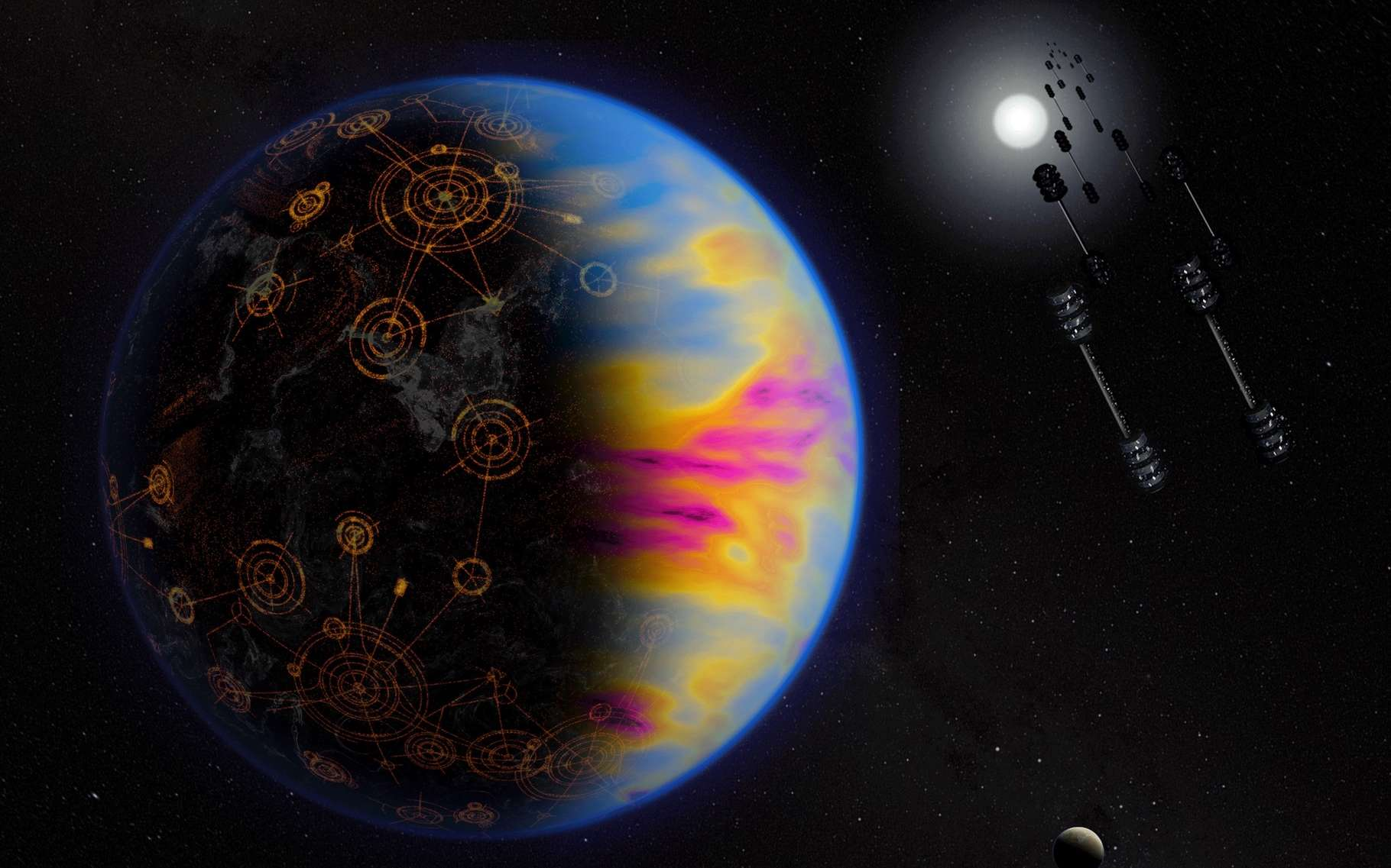 Sur cette vue d'artiste, la pollution industrielle dégagée par une civilisation extraterrestre intelligente sur une exoplanète. © Jay Freidlander, Nasa