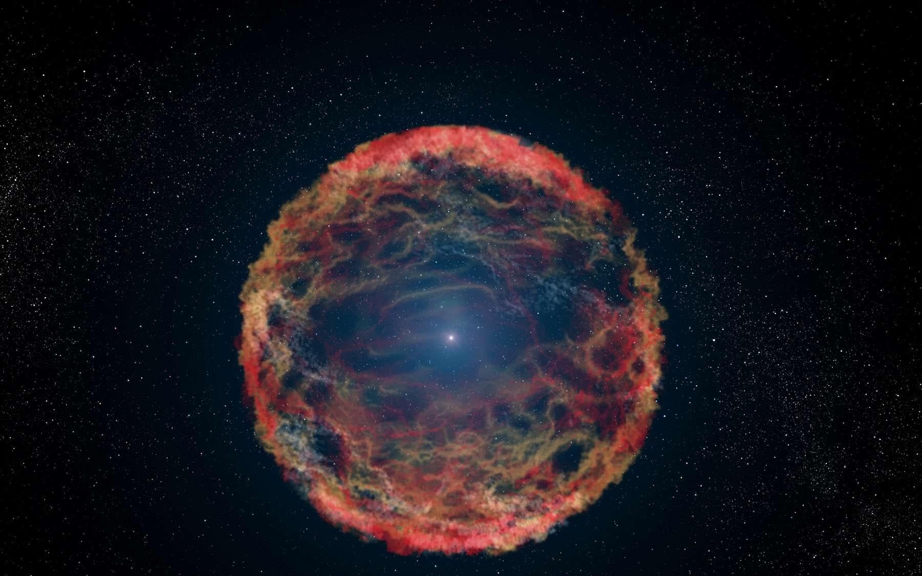 Une étoile qui ne veut pas mourir, c'est possible ? Peut-être à cause de l'antimatière… Ici, une vue d'artiste de iPTF14hls. © G. Bacon, Nasa, ESA