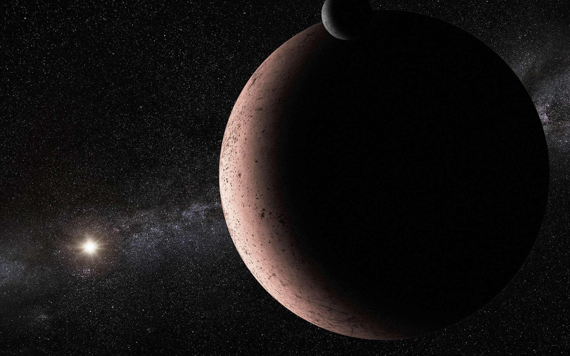 Une vue d'artiste de Makémaké et de sa lune MK2. © Nasa, Esa et A. Parker (Southwest Research Institute)