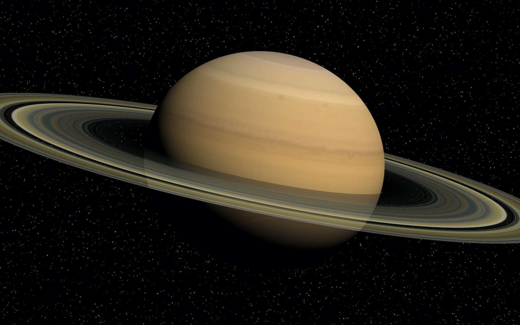 À l'intérieur de Saturne doivent aussi naître des pluies d'hélium. © Florent DIE, Adobe Stock