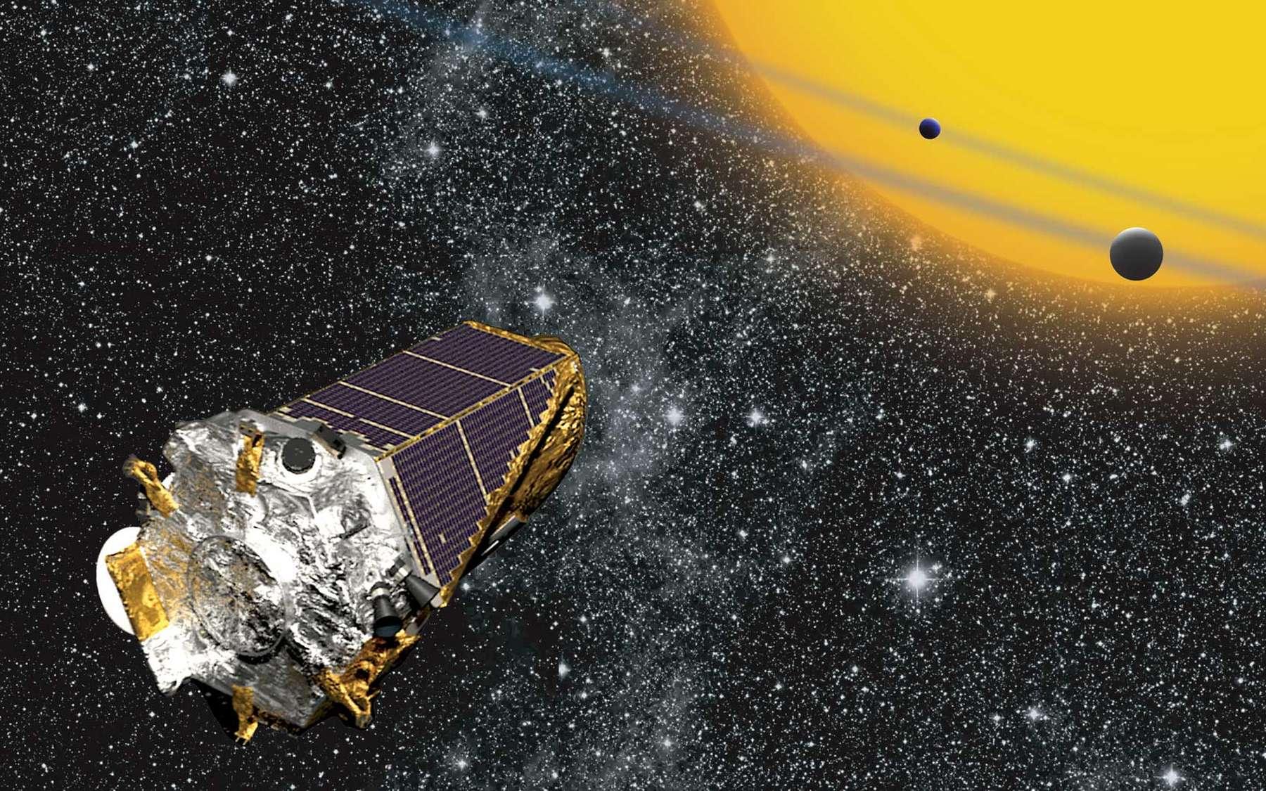 Cette vue d'artiste montre le satellite Kepler, de la Nasa, en train de chasser des exoplanètes par la méthode du transit planétaire. Cet instrument spatial peut aussi étudier les variations de luminosité des étoiles causées par les ondes qui les parcourent : c'est la sismologie stellaire, ou astérosismologie. © Nasa, W Stenzel