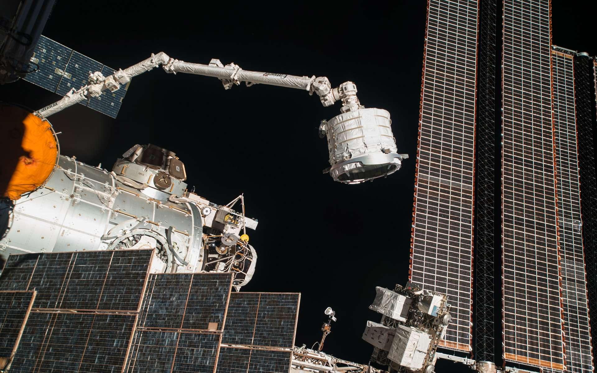 À l'aide du bras robotique de l'ISS, installation du module gonflable Beam sur un des ports du module Harmony de la Station spatiale. © Nasa