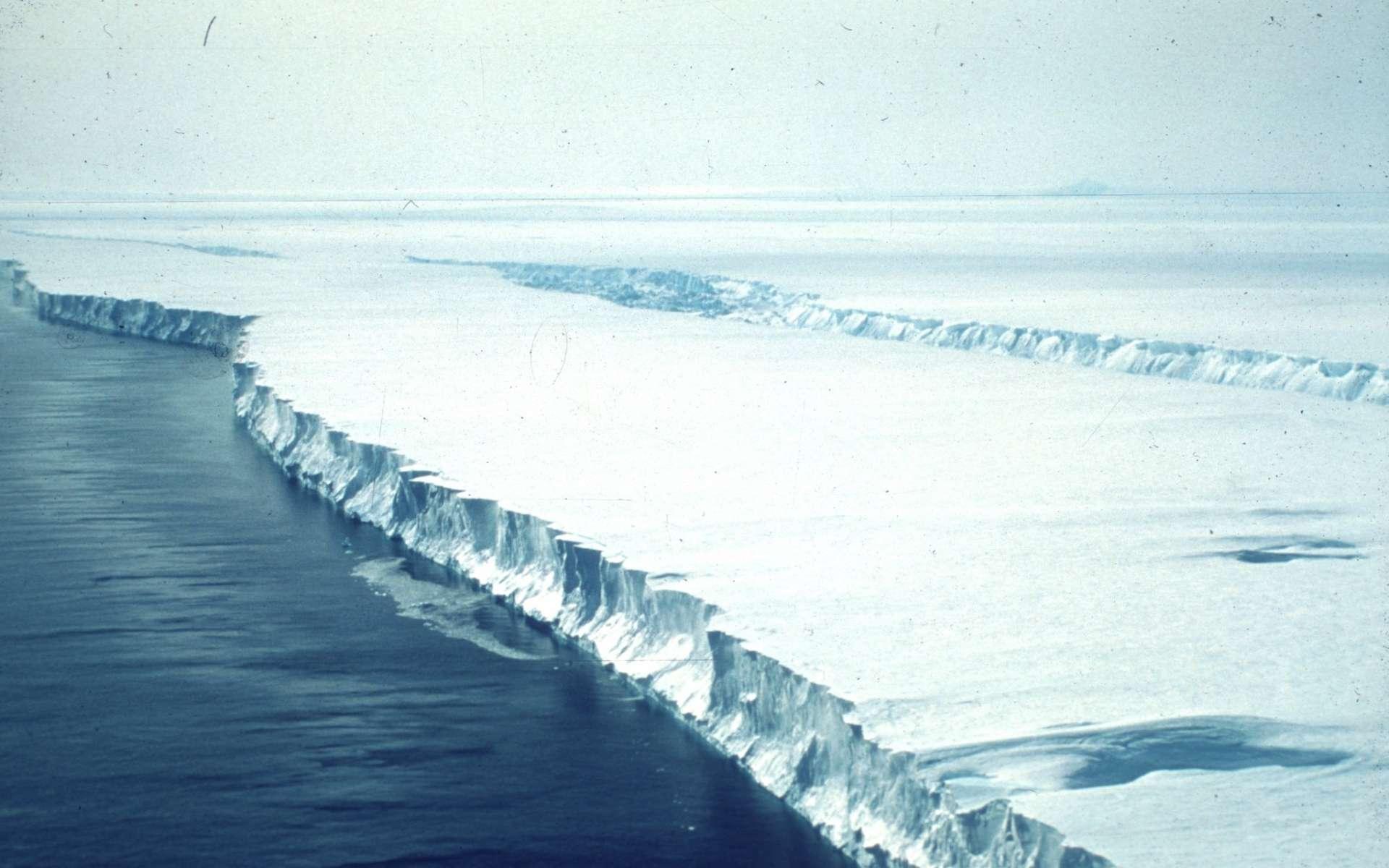 Dislocation d'une plateforme glaciaire en Antarctique. De telles couches de glace flottent sur l'océan au débouché de grands glaciers et en réduisent la vitesse d'écoulement. Quand une telle plateforme se disloque, le glacier qu'elle freinait s'écoule plus rapidement et le front de glace se brise plus facilement, libérant de nombreux icebergs. © Scott Polar Research Institute