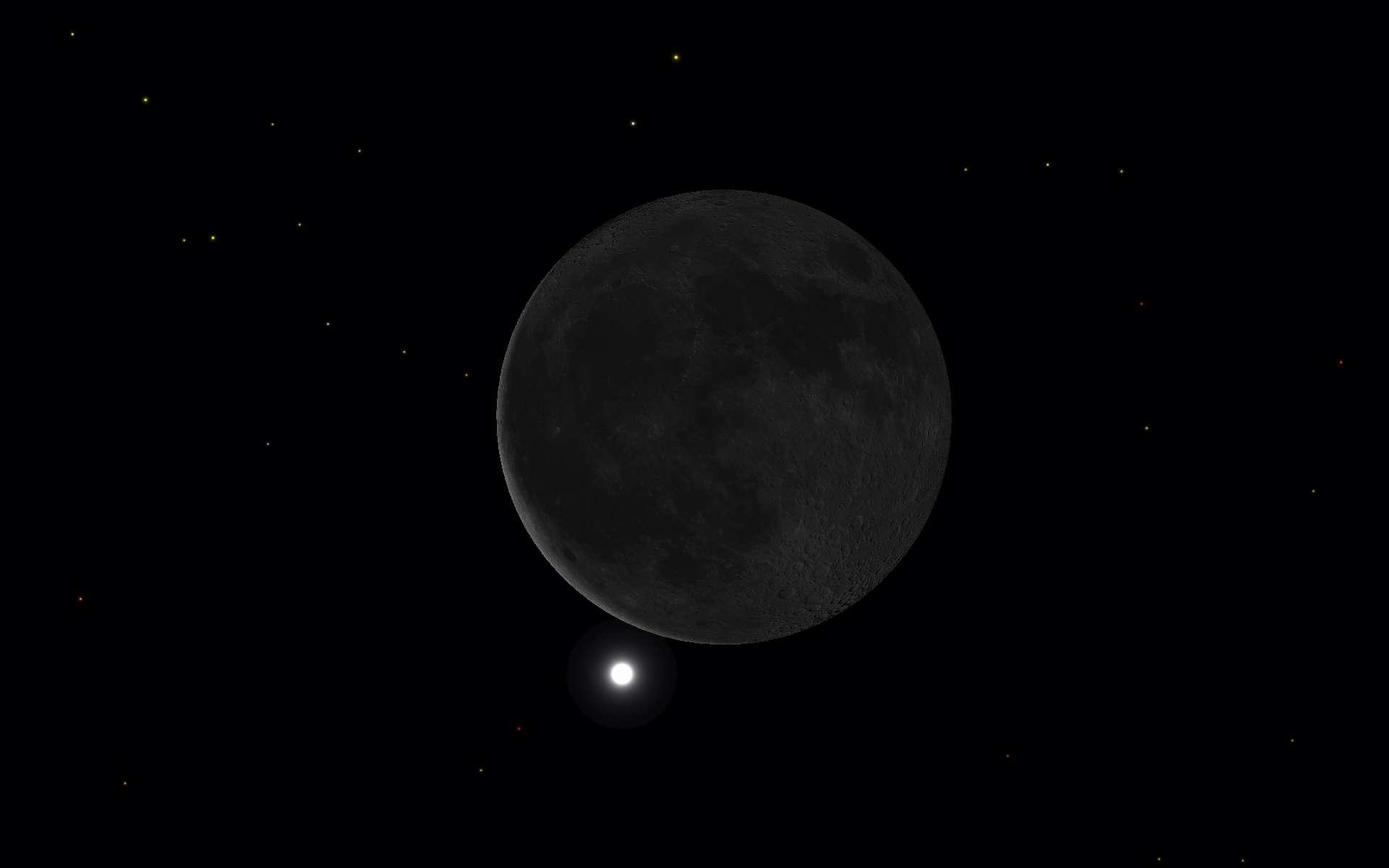 Capture d'écran montrant la Lune en conjonction avec Vénus, quelques instants avant l'occultation de la déesse de l'Amour par notre plus proche voisine, la Lune. © SkySafari
