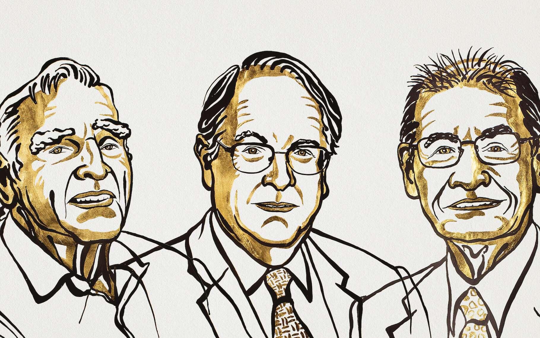 En ce mercredi 9 octobre 2019, les trois inventeurs de la batterie lithium-ion — de gauche à droite, John Goodenough, Stanley Whittingham et Akira Yoshino — se sont vu attribuer le prestigieux prix Nobel de chimie. © Niklas Elmehed, Nobel Media