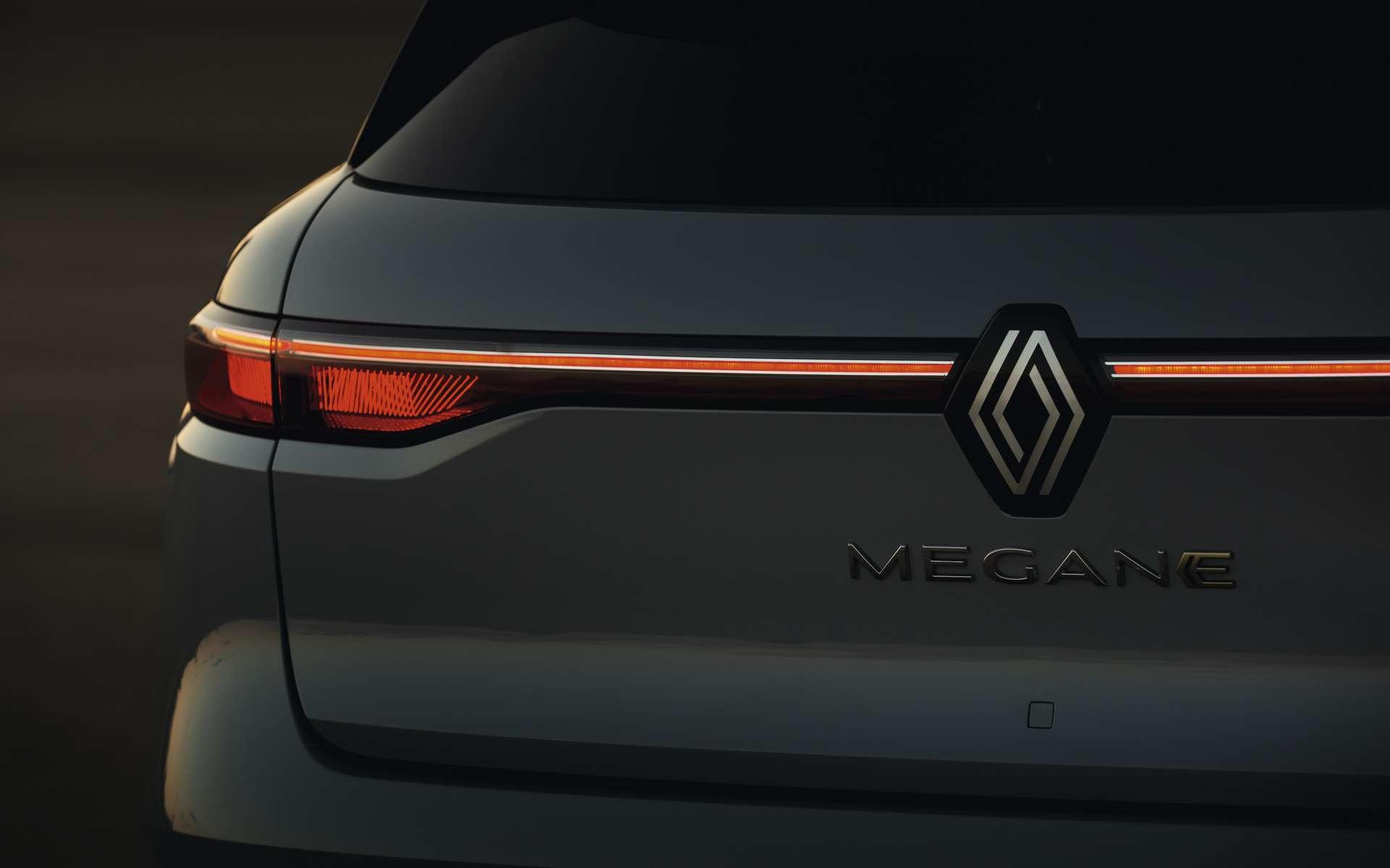 La Mégane e-Tech Electric étrenne le nouveau logo Renault et une signature lumineuse Led spécifique. © Renault