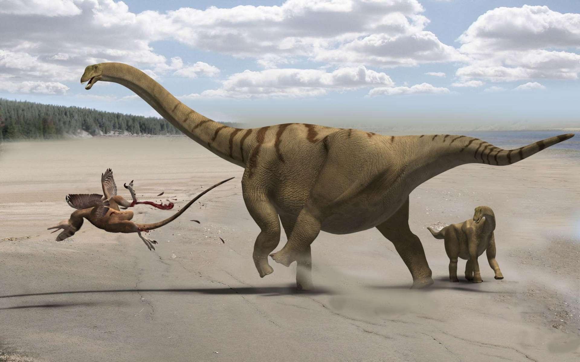 Maman Brontomerus mcintoshi vient de terrasser le Utahraptor. Son petit est sauvé. © Francisco Gascó