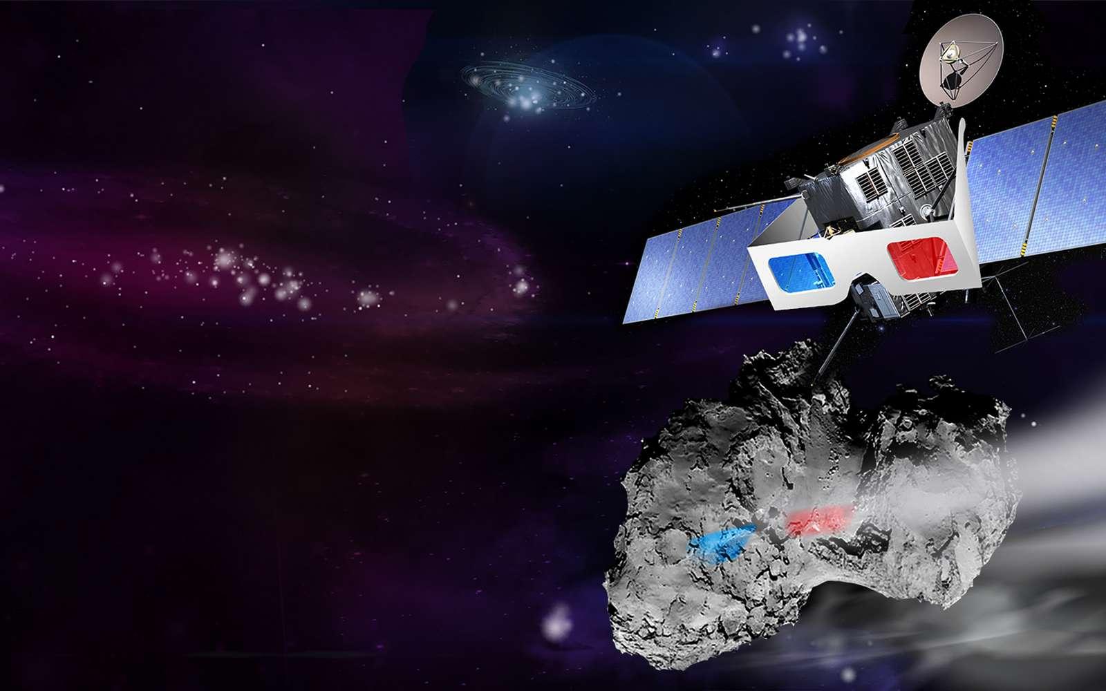 Une vue d'artiste de Rosetta observant Tchouri. © Atelier de Création Multimédia (ACM) du CNES
