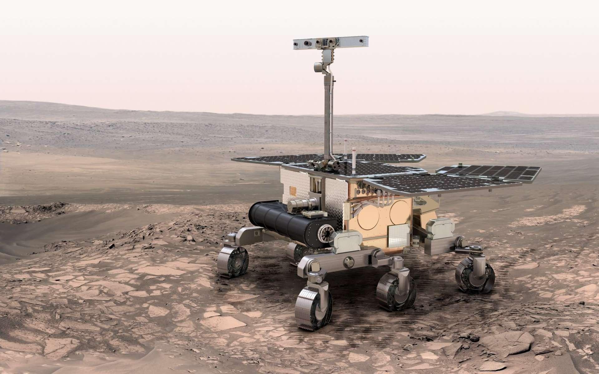 Un dessin (réalisé en 2010) de ce que pourrait être le futur rover de la mission Exomars. Une étroite collaboration internationale est nécessaire pour ce genre de mission et les scientifiques de nombreux pays travaillent ensemble durant des années. © Esa