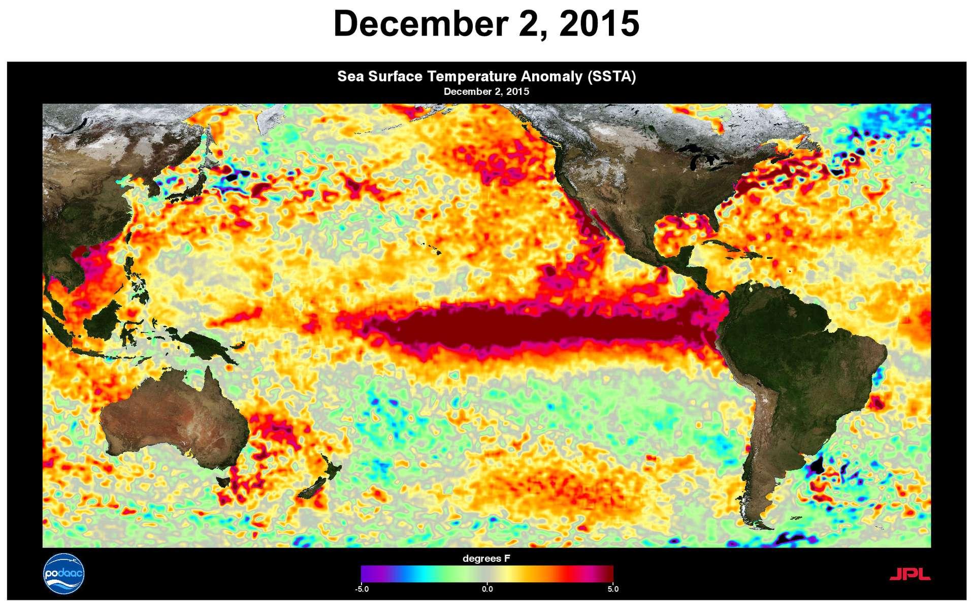 Des anomalies des températures de surface des océans ont été constatées le 2 décembre 2015. Le phénomène El Niño est ici bien visible, sur la ceinture équatoriale de l'océan Pacifique. © Nasa, JPL, PODAAC, NOAA