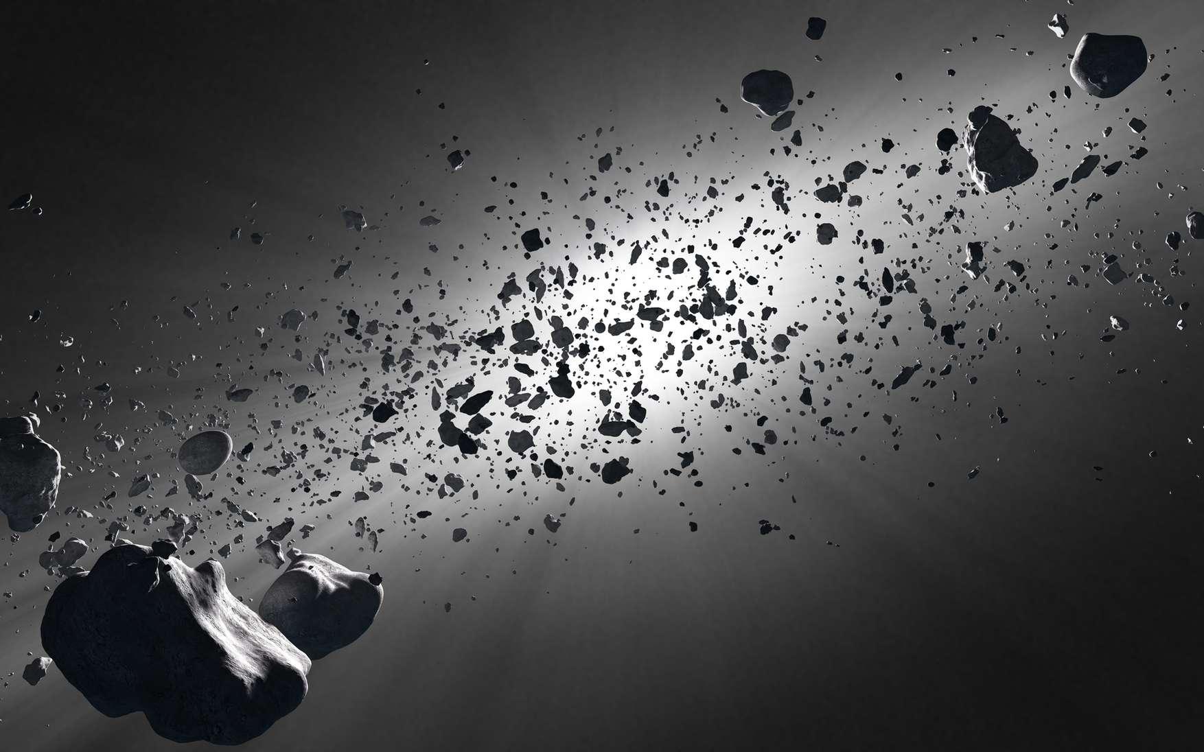 La ceinture de Kuiper, longtemps suspectée, est observée depuis 1992. Cette vue d'artiste l'évoque bien qu'elle corresponde davantage à la ceinture d'astéroïdes entre Mars et Jupiter. La densité d'objets est en réalité très faible. © Johan Swanepoel, Fotolia