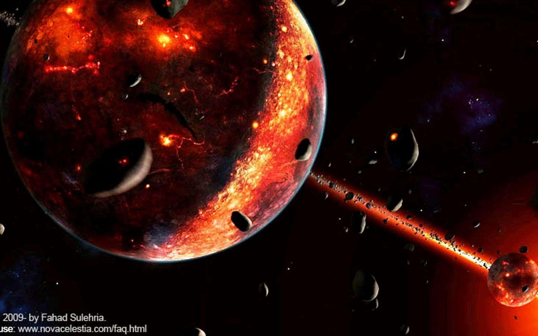 Vue d'artiste de la Terre après sa collision avec Théia. La jeune Lune est visible à droite. Les deux corps subissaient encore un fort bombardement météoritique, ce qui explique la présence à leur surface de zones couvertes de magma. © Fahad Sulehria
