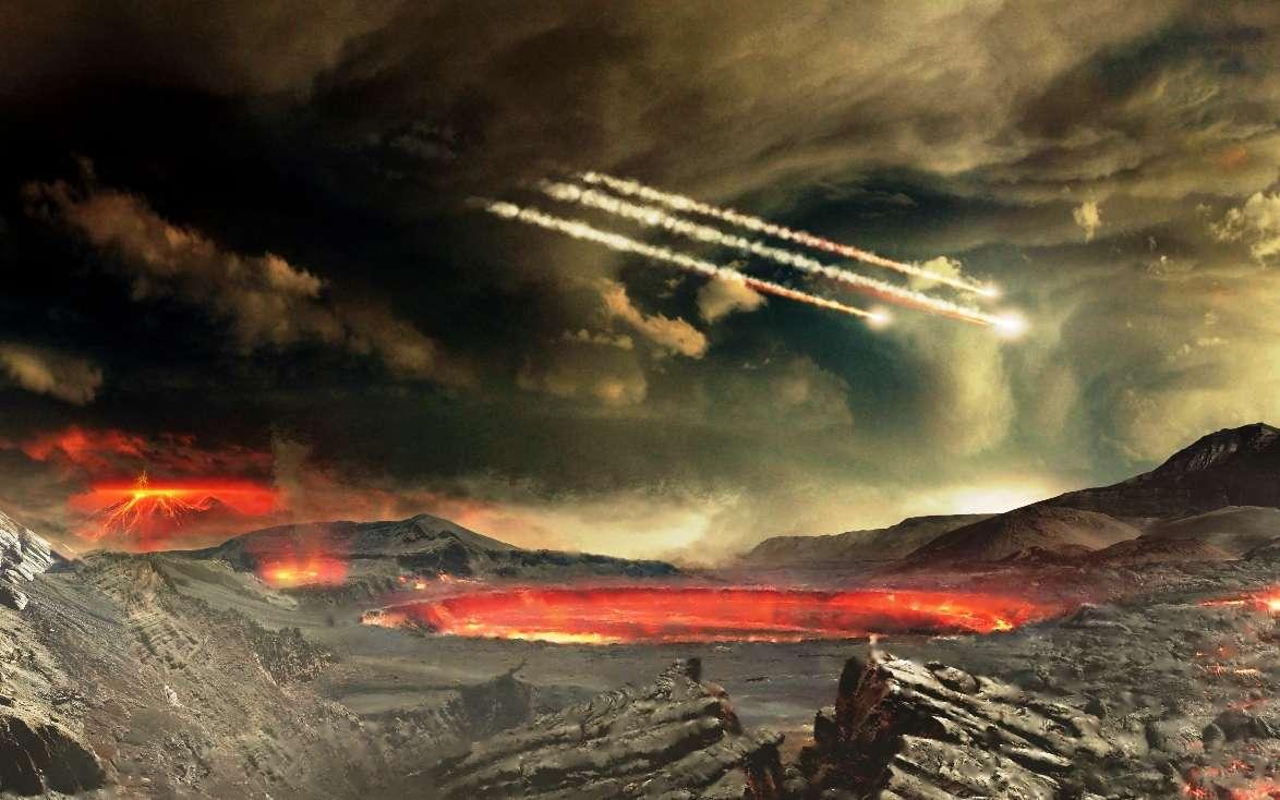 Une vue d'artiste de la Terre pendant l'Hadéen, il y a plus de 4 milliards d'années, alors que le bombardement des comètes et des météorites était très intense. © NASAs Goddard Space Flight Center, Conceptual Image Lab