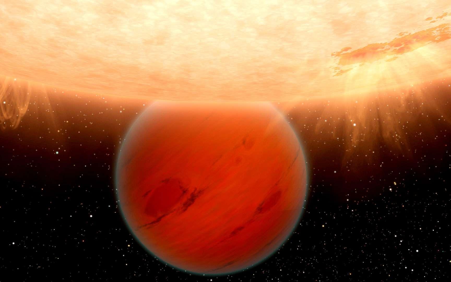 L'exoplanète GJ 436b a été découverte grâce au satellite Spitzer. Située à 33 années-lumière de la Terre, cette géante gazeuse, représentée ici par une vue d'artiste, secoue le monde de la planétologie. Alors que les lois de la thermochimie impliquaient qu'une planète de ce type devrait être riche en méthane et pauvre en monoxyde de carbone (CO), comme c'est le cas dans le Système solaire, GJ 436b contredit tous les modèles actuels. En effet, les observations de cette planète ne montrent pas de traces de méthane et, à l'inverse, une abondance de CO. © Nasa, DP