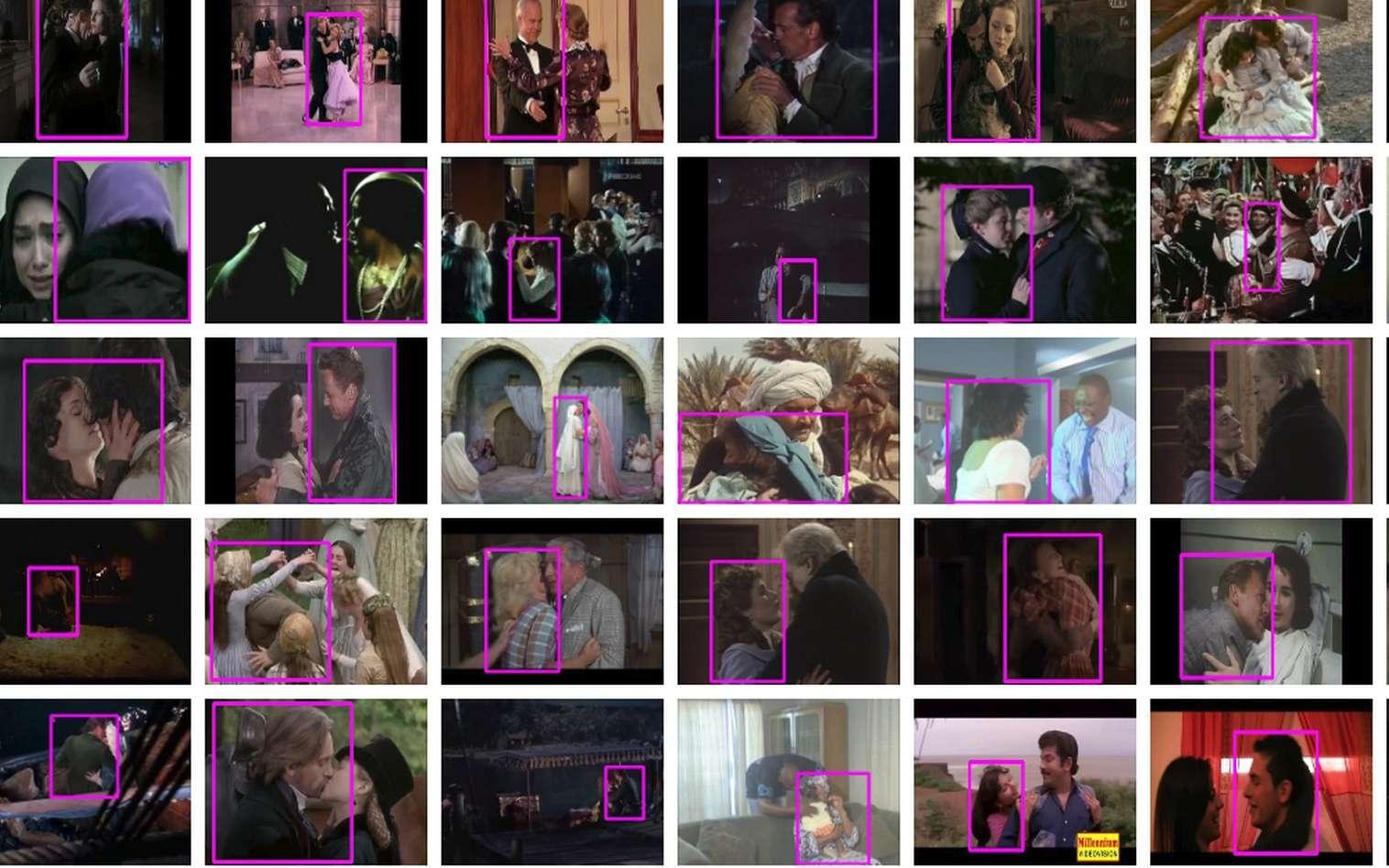 Ces images représentent un échantillon des extraits vidéo de la base de données Google qui décrivent les actions de chaque personne. © Google