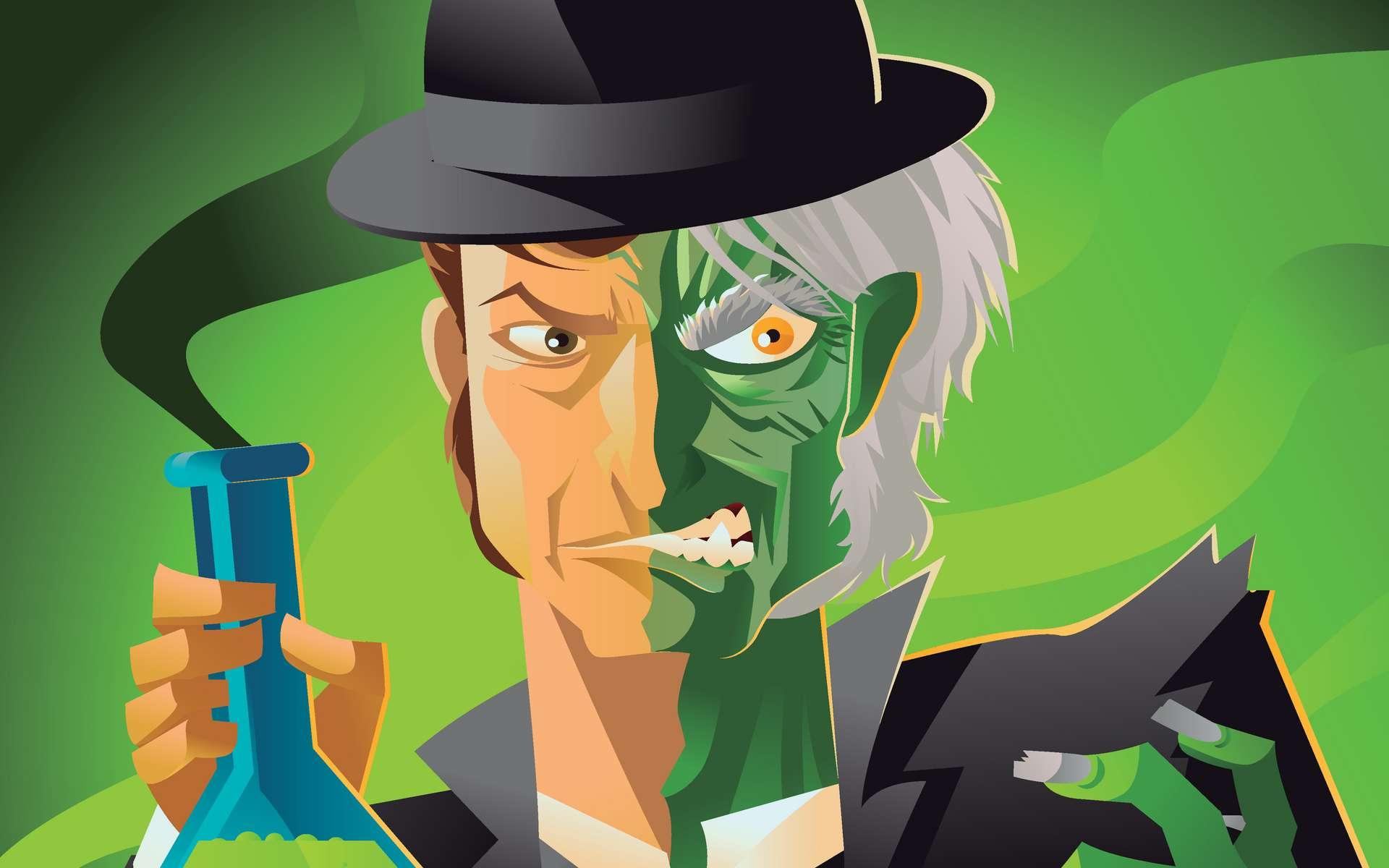 En avalant une potion de sa création, le docteur Jekyll se transforme en M. Hyde. © Matiasdescarmine, Fotolia