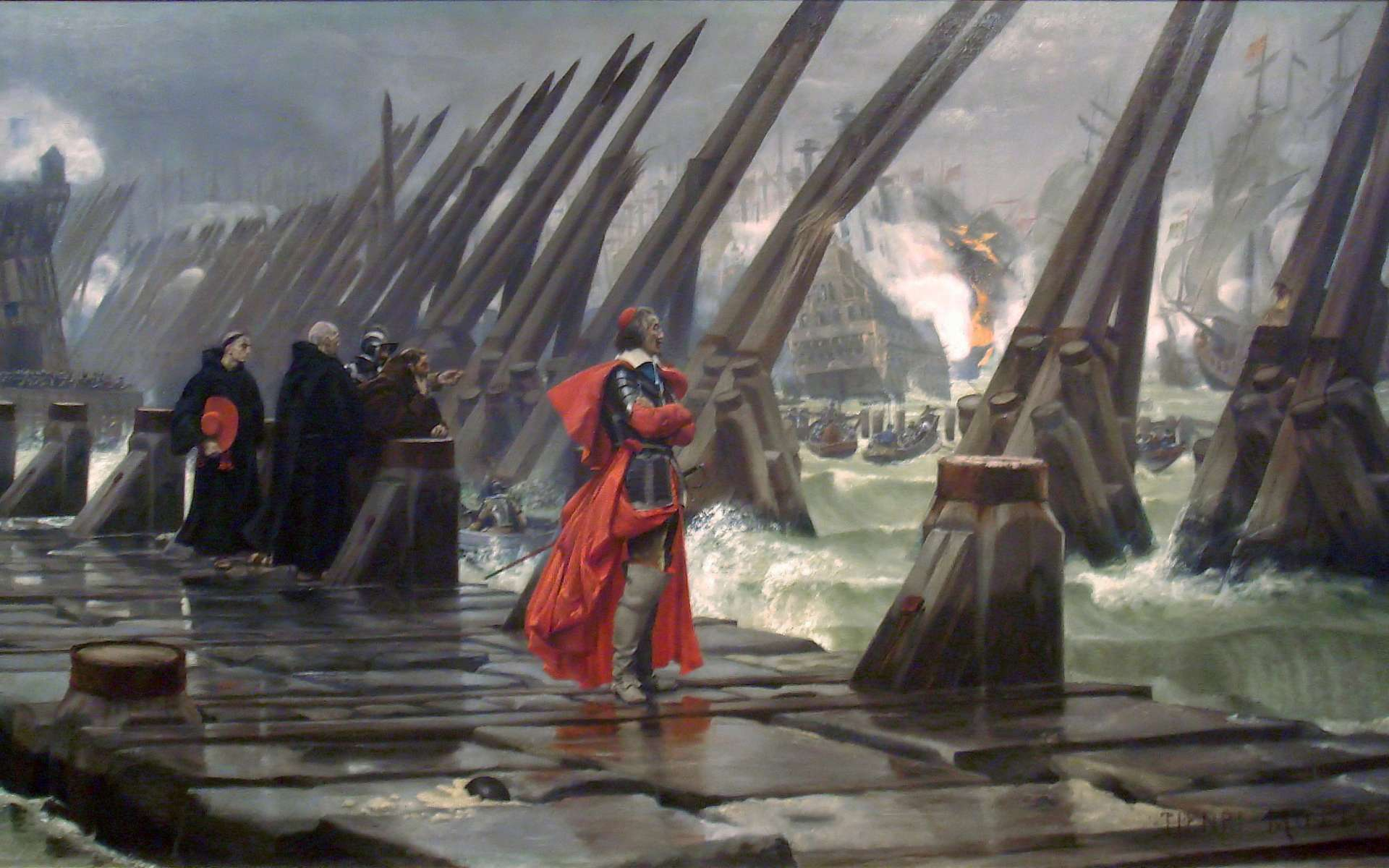 Le cardinal de Richelieu au siège de La Rochelle. © Henri-Paul Motte, Musée d'Orbigny Bernon, Wikimedia Commons, Domaine public
