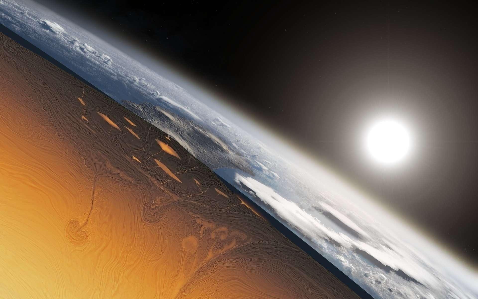 Une vue d'artiste montrant une coupe de l'intérieur de la Terre pendant l'Archéen avec des mouvements de convection du manteau chaud mais néanmoins solide, il ne s'agissait pas d'un océan de magma. On voit tout de même quelques chambres magmatiques juste sous la croûte. © Alec Brenner, Harvard University