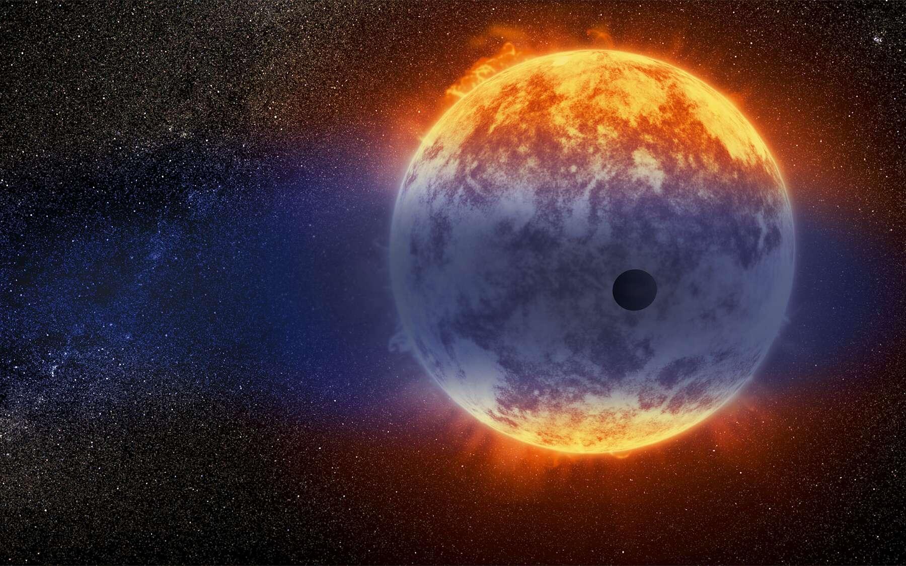 Cette vue d'artiste montre un nuage géant d'hydrogène jaillissant d'une planète chaude de la taille de Neptune, à seulement 97 années-lumière de la Terre. L'exoplanète est minuscule par rapport à son étoile, une naine rouge nommée GJ 3470. Le rayonnement intense de l'étoile réchauffe l'hydrogène présent dans la haute atmosphère de la planète jusqu'à ce qu'il s'échappe dans l'espace. © Nasa, Esa and D. Player (STScI)