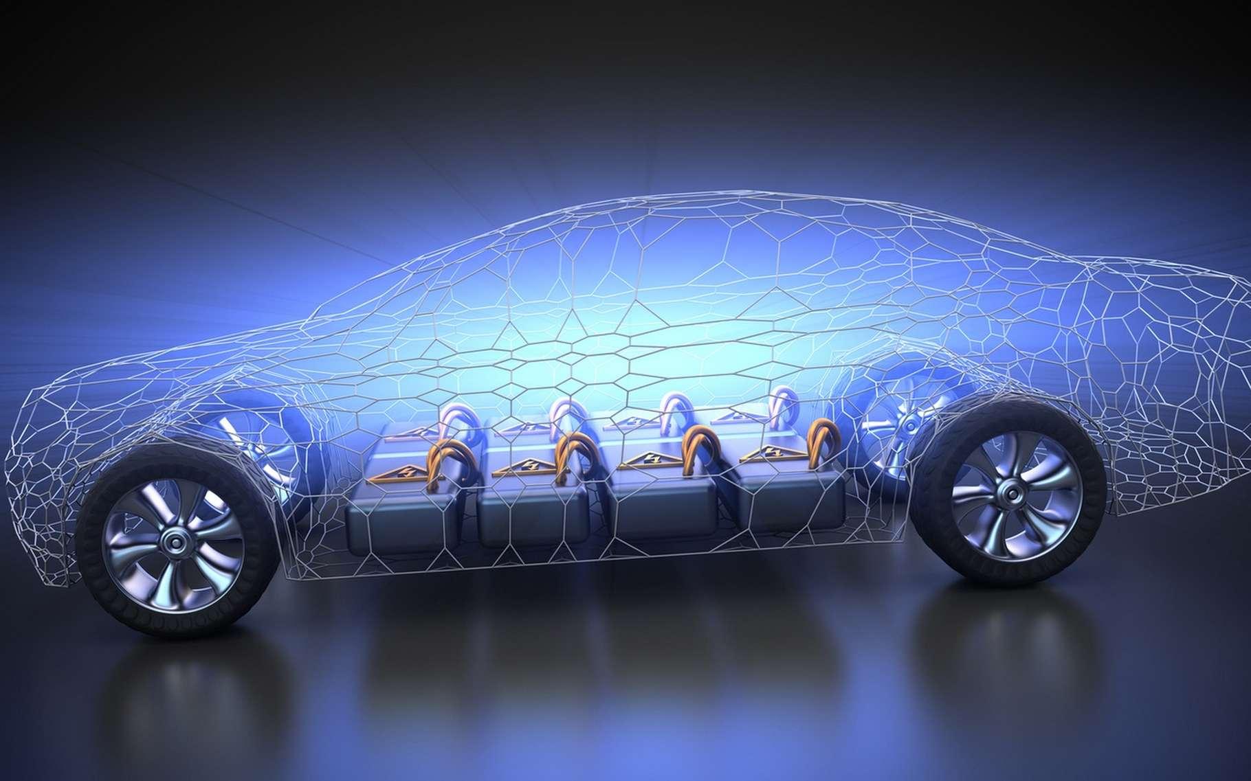 Dans les batteries des voitures électriques, 50 % de l'espace est occupé par la connectique et les compartiments qui protègent chaque cellule. © Patrick P. Palej, Fotolia
