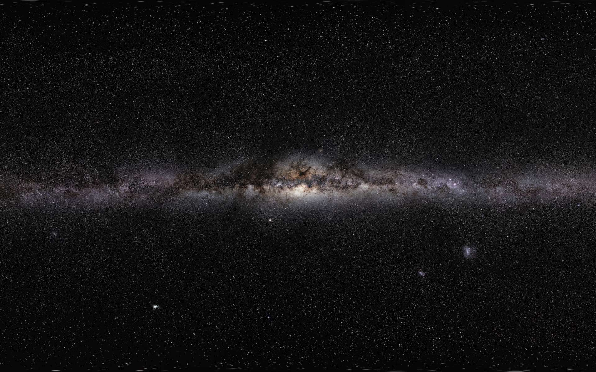 Portrait de notre galaxie. Assemblage de photos de la Voie lactée prises depuis diverses régions du monde. © Serge Brunier