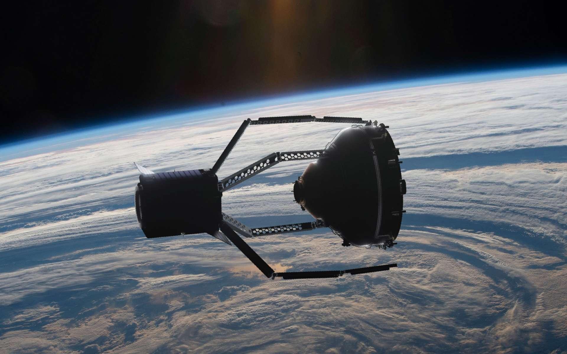 CleanSpace-1 en train de saisir avec sa pince géante un débris spatial. © ClearSpace SA