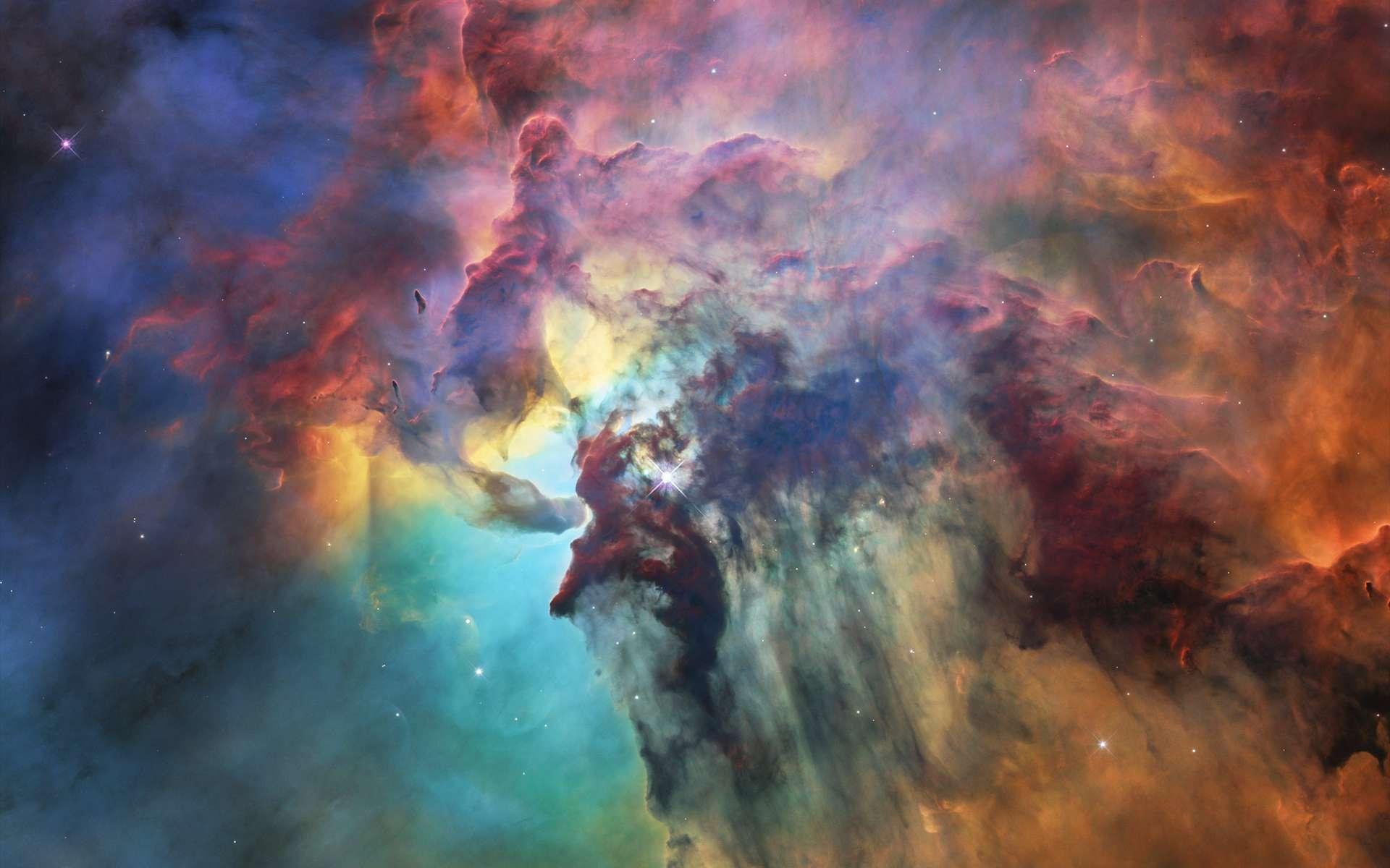 Hubble nous fait redécouvrir cette région à l'intérieur de la nébuleuse du Lagon (Lagoon nebula, Messier 8), laquelle s'étend dans la constellation du Sagittaire. Sa vue pénétrante dans le visible et l'infrarouge nous dévoile les jeunes étoiles tapies dans les ténèbres, plus particulièrement Herschel 36. Celle-ci érode et sculpte le milieu où elle s'est formée. Entre les deux masses sombres, on peut observer une tornade qui entremêle gaz et poussières. © Nasa, Esa, STSci