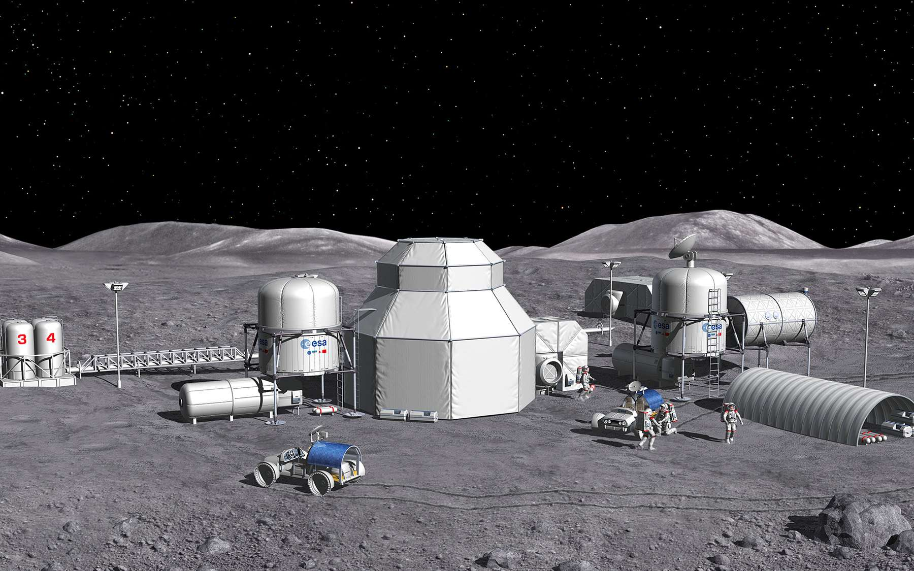 Concept de base habitée sur la Lune, étudié par l'Agence spatiale européenne. © ESA, P. Carril