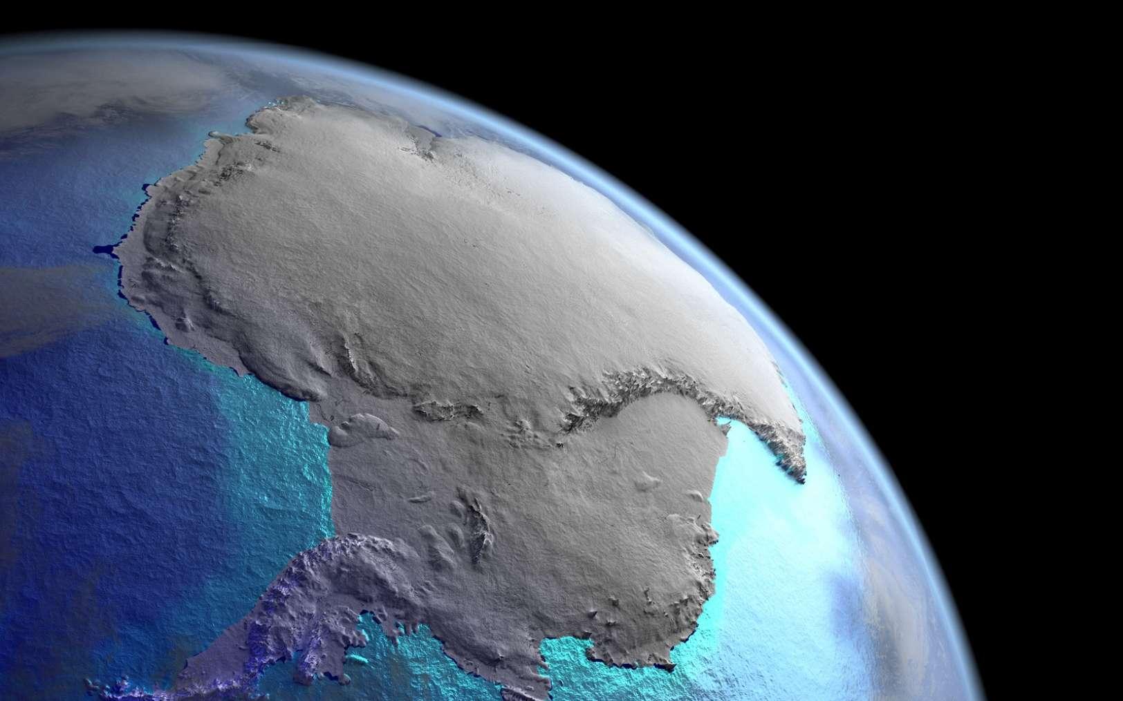 Une vue d'artiste de l'Antarctique depuis l'espace. © Fotolia harvepino