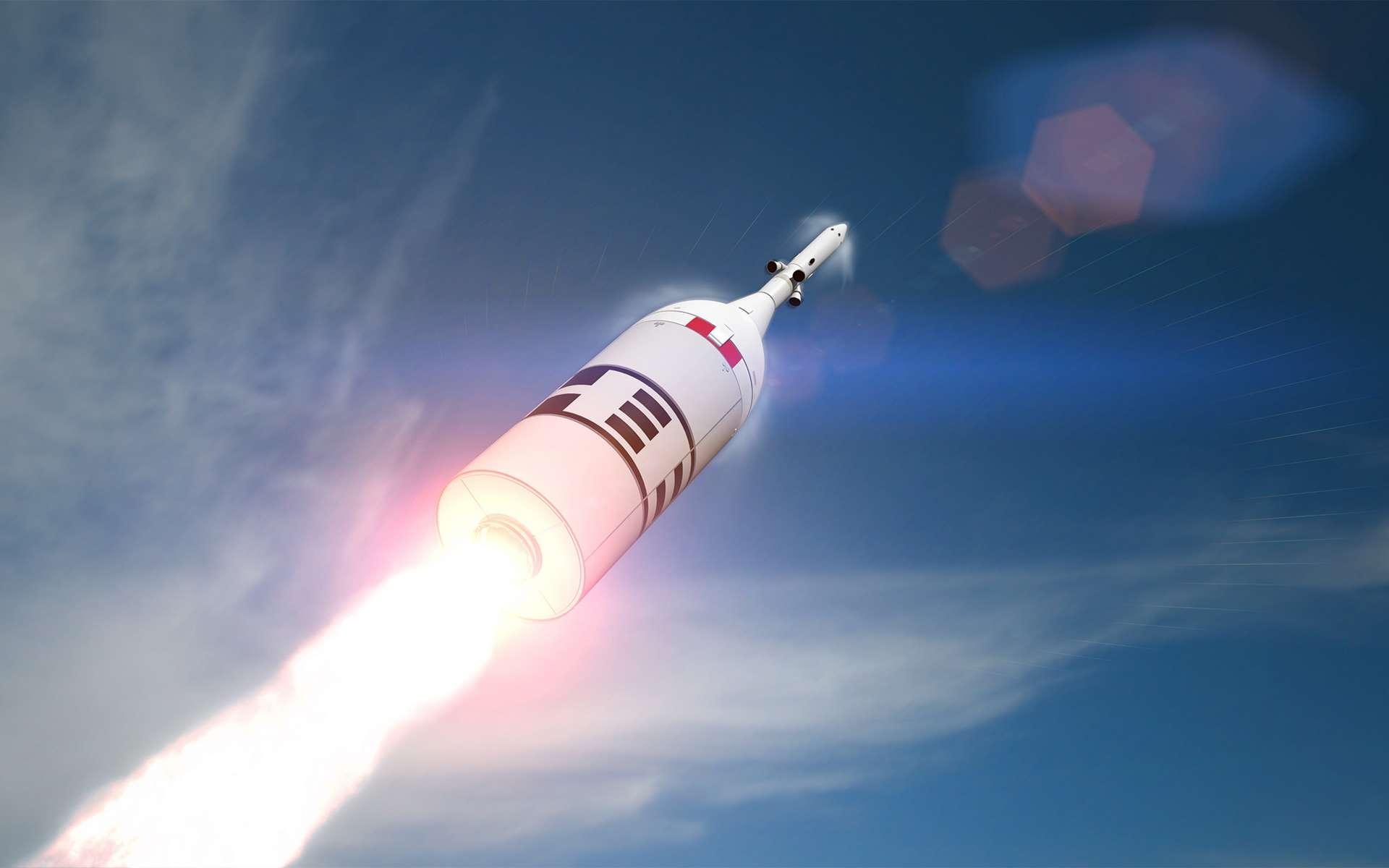 Vue d'artiste du test d'abandon au lancement AA-2 du véhicule Orion de la Nasa. © Nasa