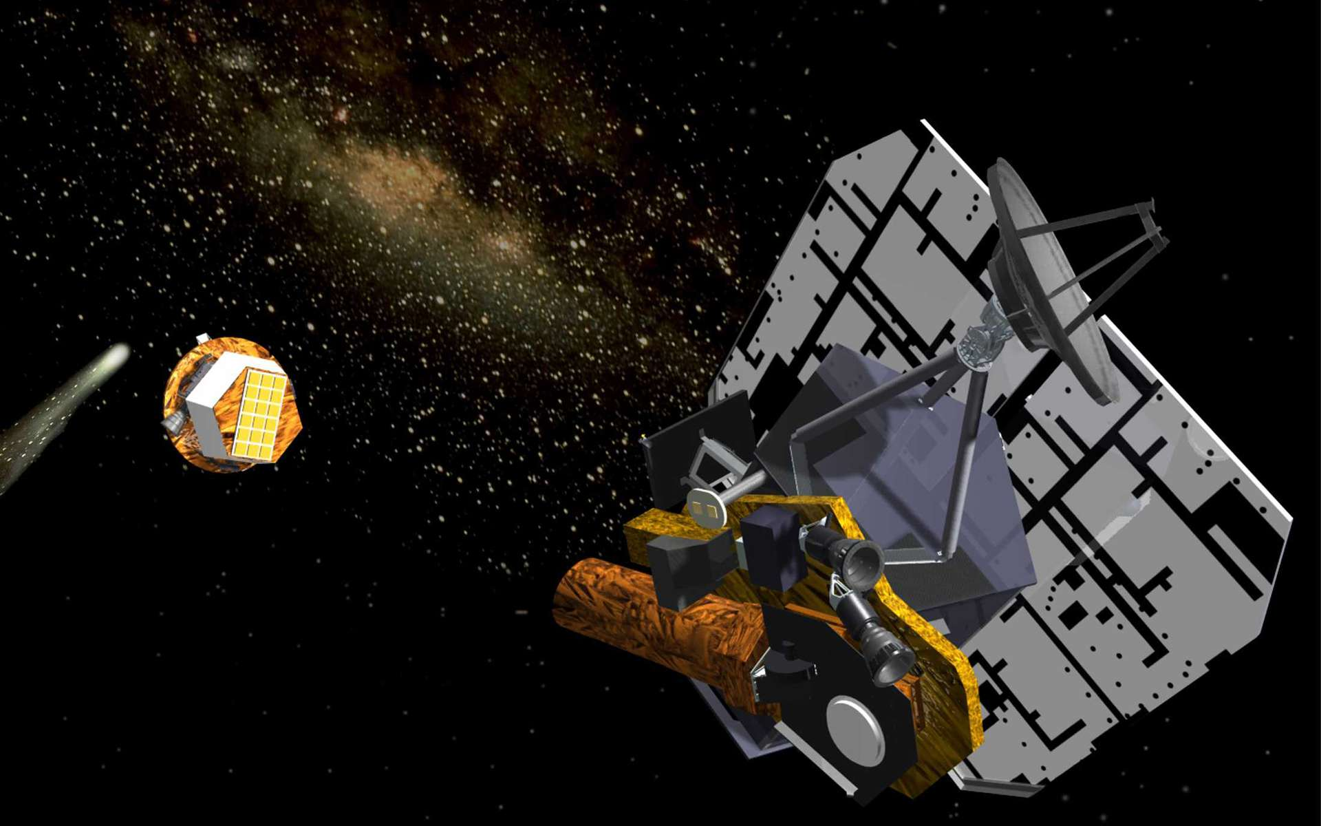 La mission Deep Impact a été renommée Epoxi. Ici, une représentation d'artiste du moment où elle a largué son impacteur en direction de la comète Tempel 1. Crédit : Nasa